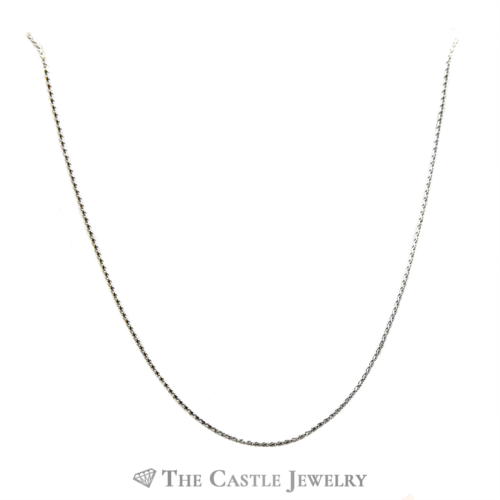 14k White Gold 18 Inch Wheat Link Chain