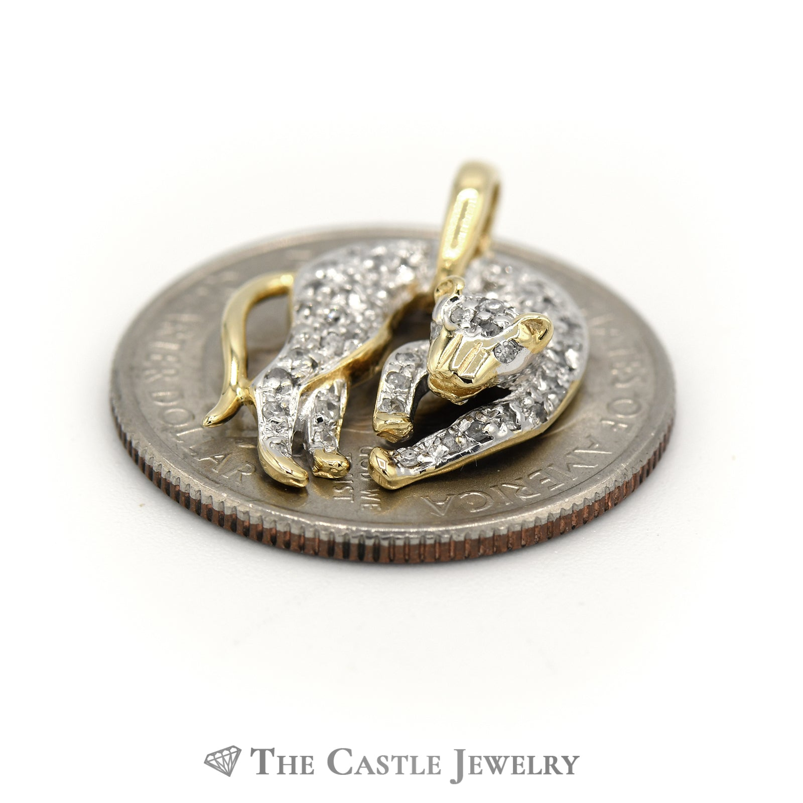 Pave-Set Diamond Panther Pendant .25cttw In 14K Yellow Gold-2