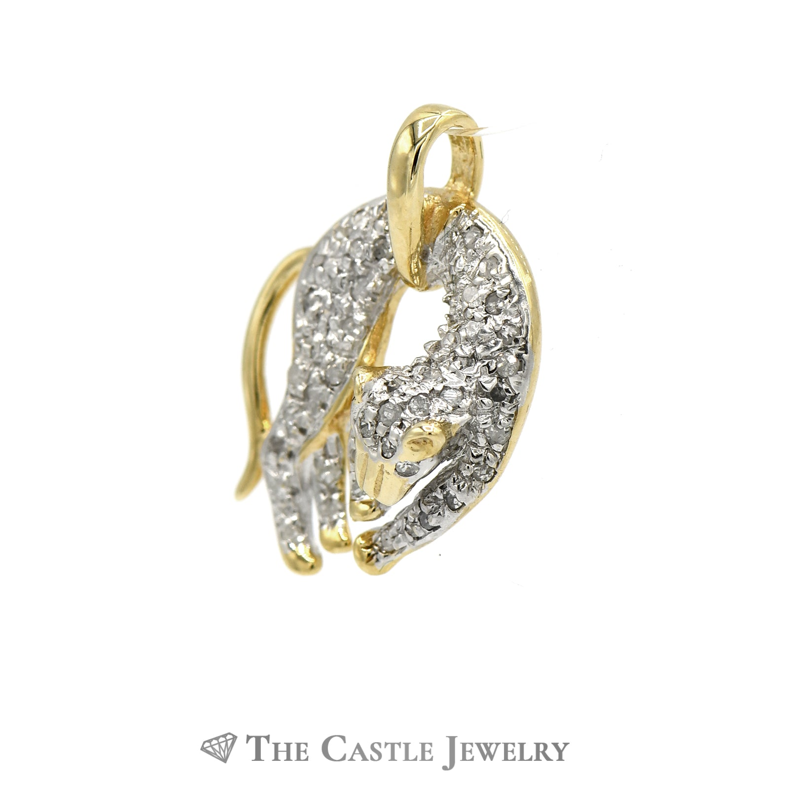 Pave-Set Diamond Panther Pendant .25cttw In 14K Yellow Gold-1