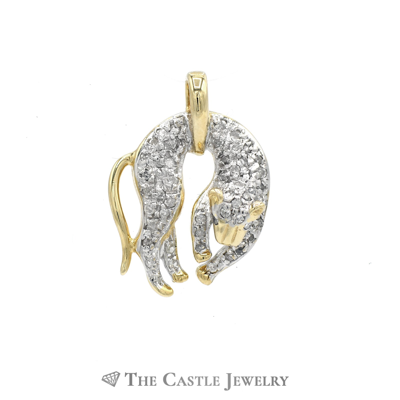 Pave-Set Diamond Panther Pendant .25cttw In 14K Yellow Gold