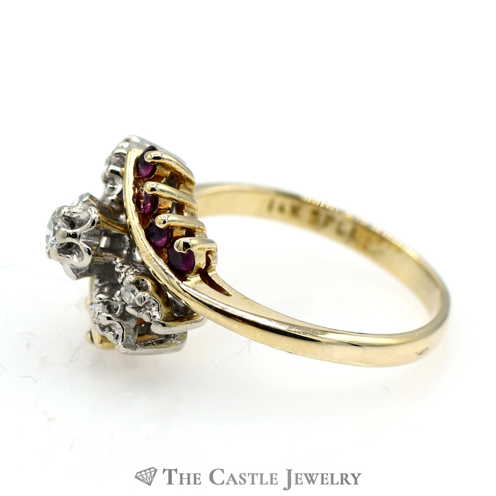 Diamond Ring Accented with a Ruby Bypass Design-2