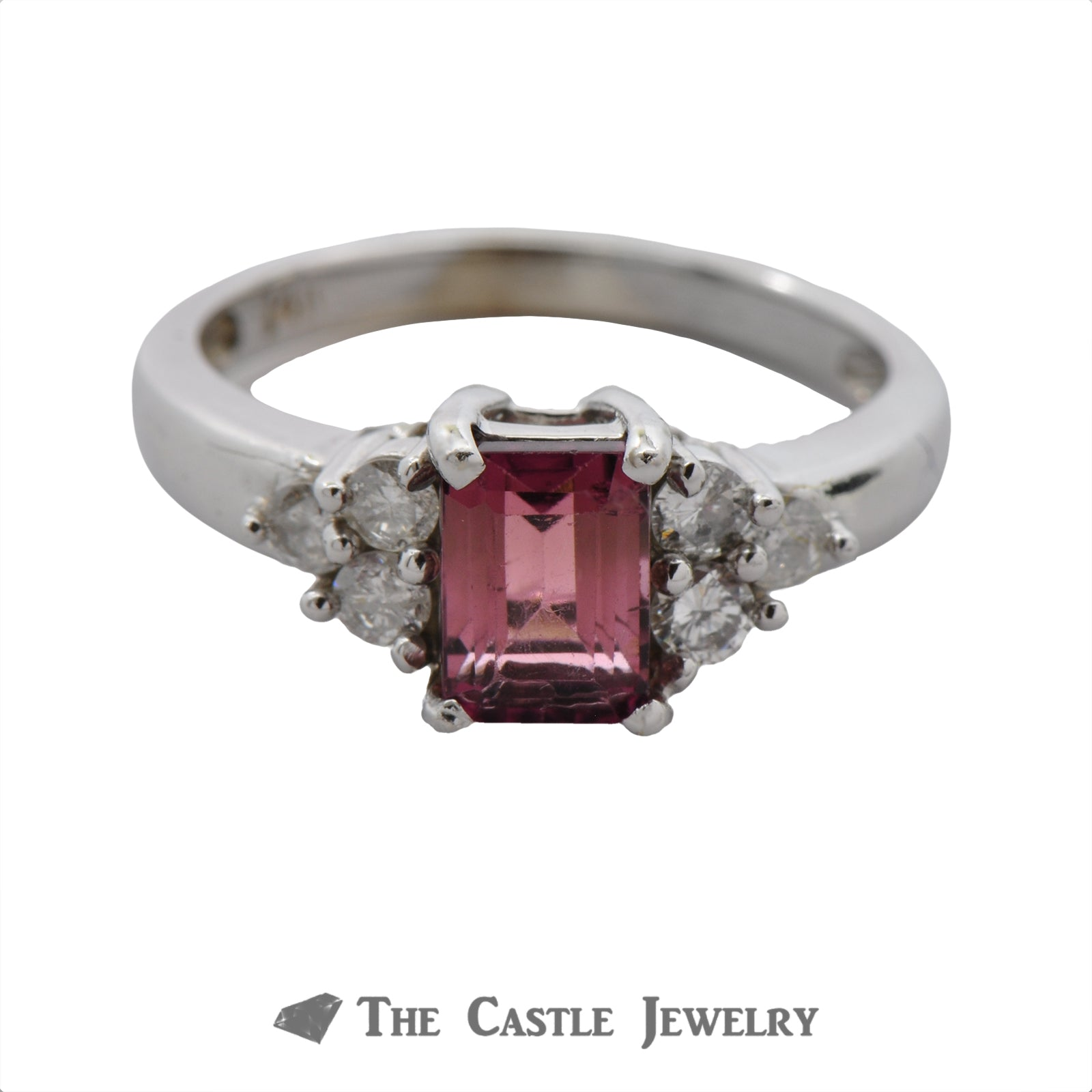 Emerald Cut Pink Rhodolite Garnet Ring with Diamond Accents