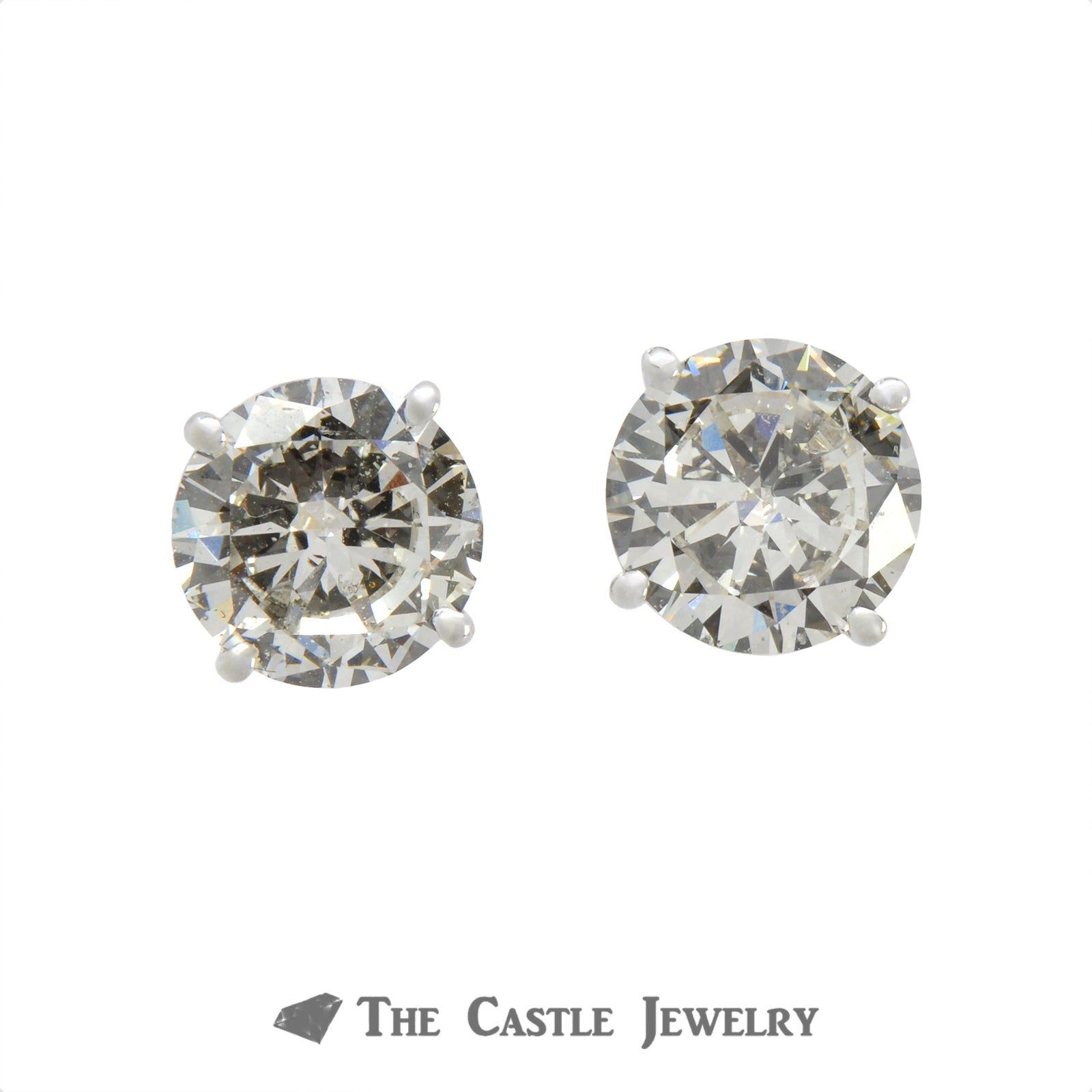 Lab Grown Round Brilliant Cut Diamond Stud Earrings 4.02 cttw In 14KT White Gold