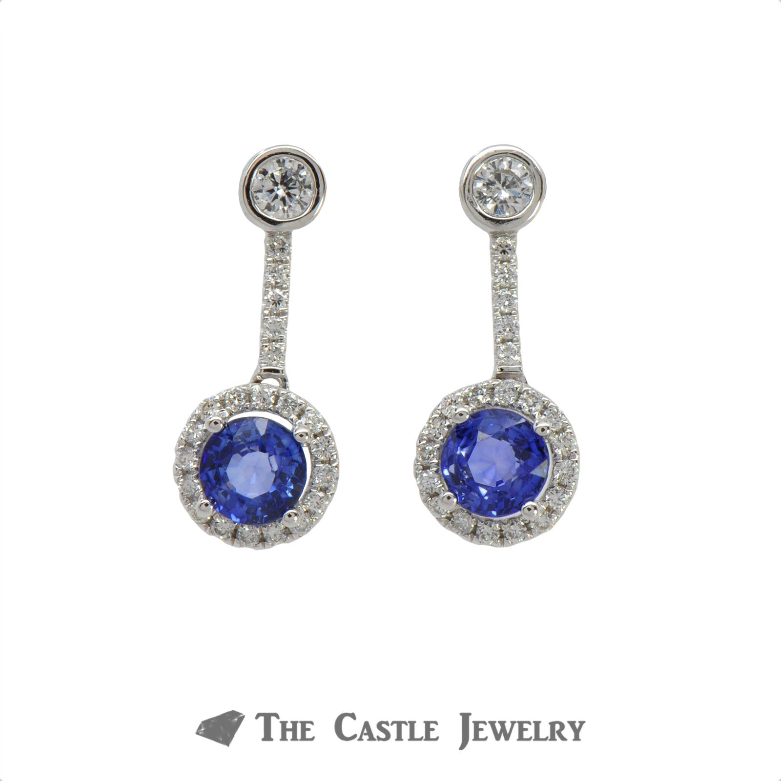 1.28cttw Round Sapphire Earrings with .50cttw Diamond Halo and Accents in 14k White Gold