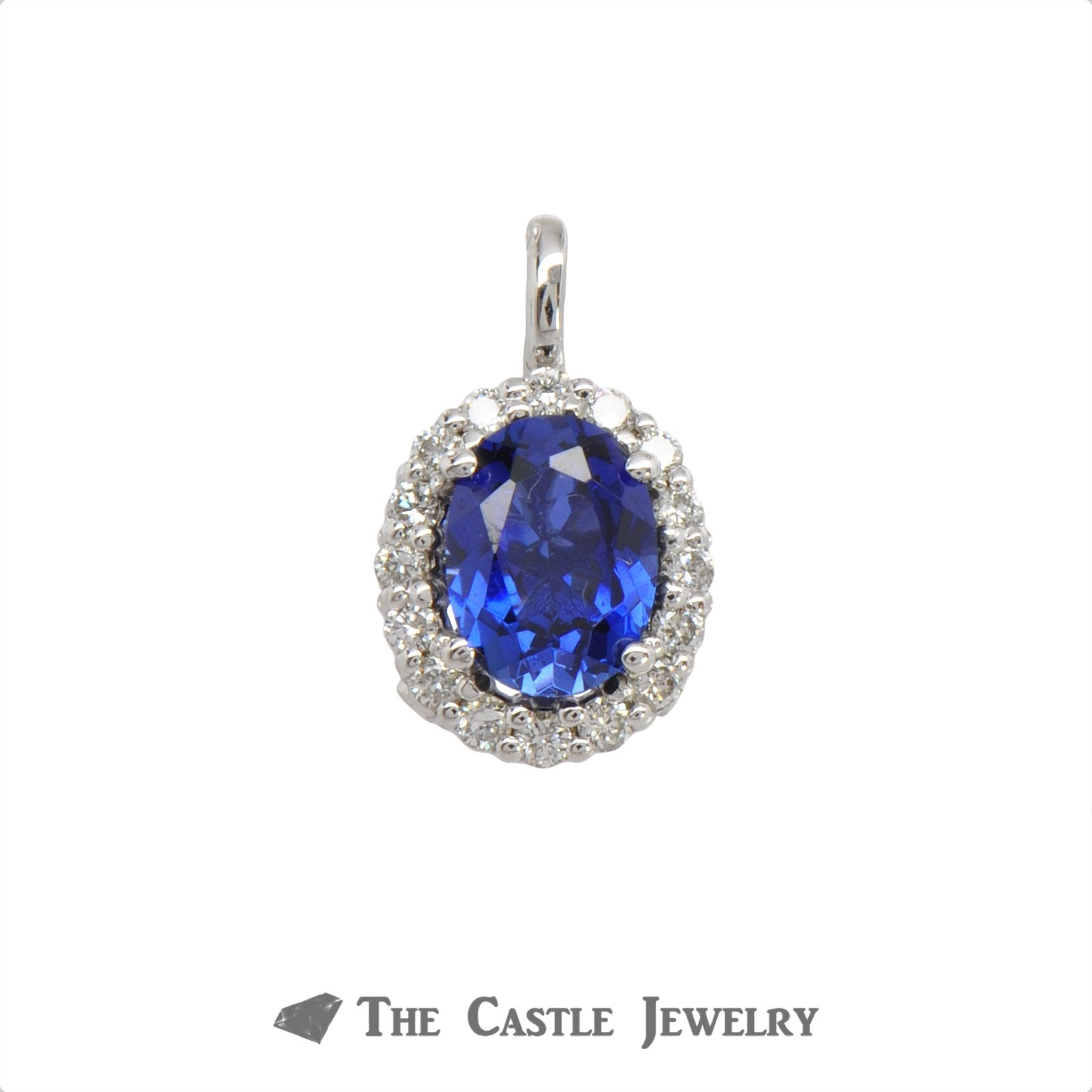 Diamond And Diffused Sapphire Pendant 1.95 ctgw In 14KT White Gold