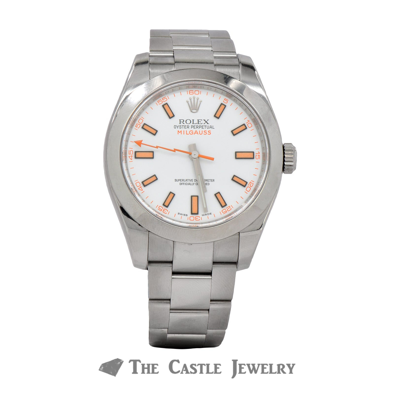Discontinued Rolex Milgauss Watch  116400 White Dial Oyster Bracelet
