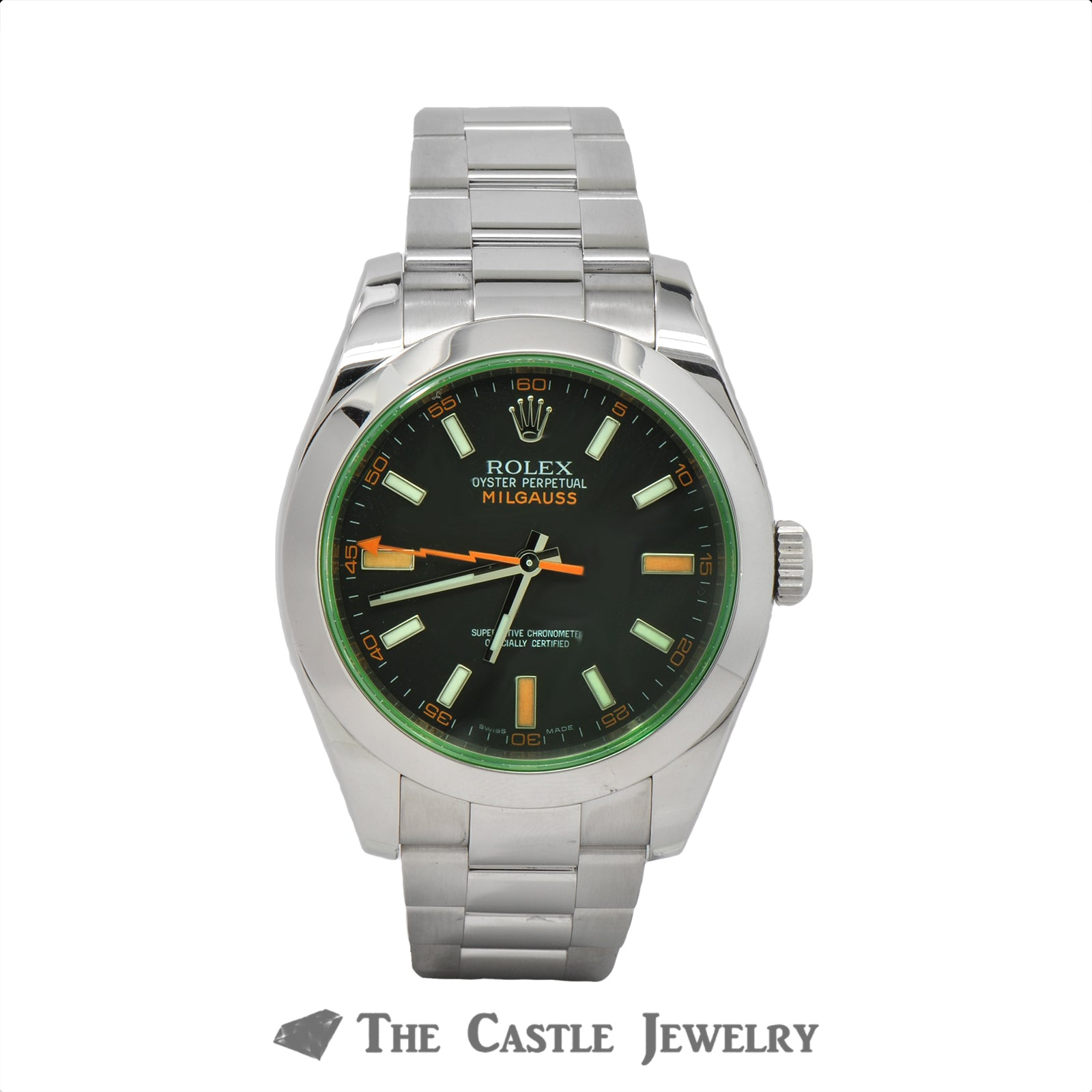 Rolex Milgauss Black Dial with Green Sapphire Crystal 116400GV