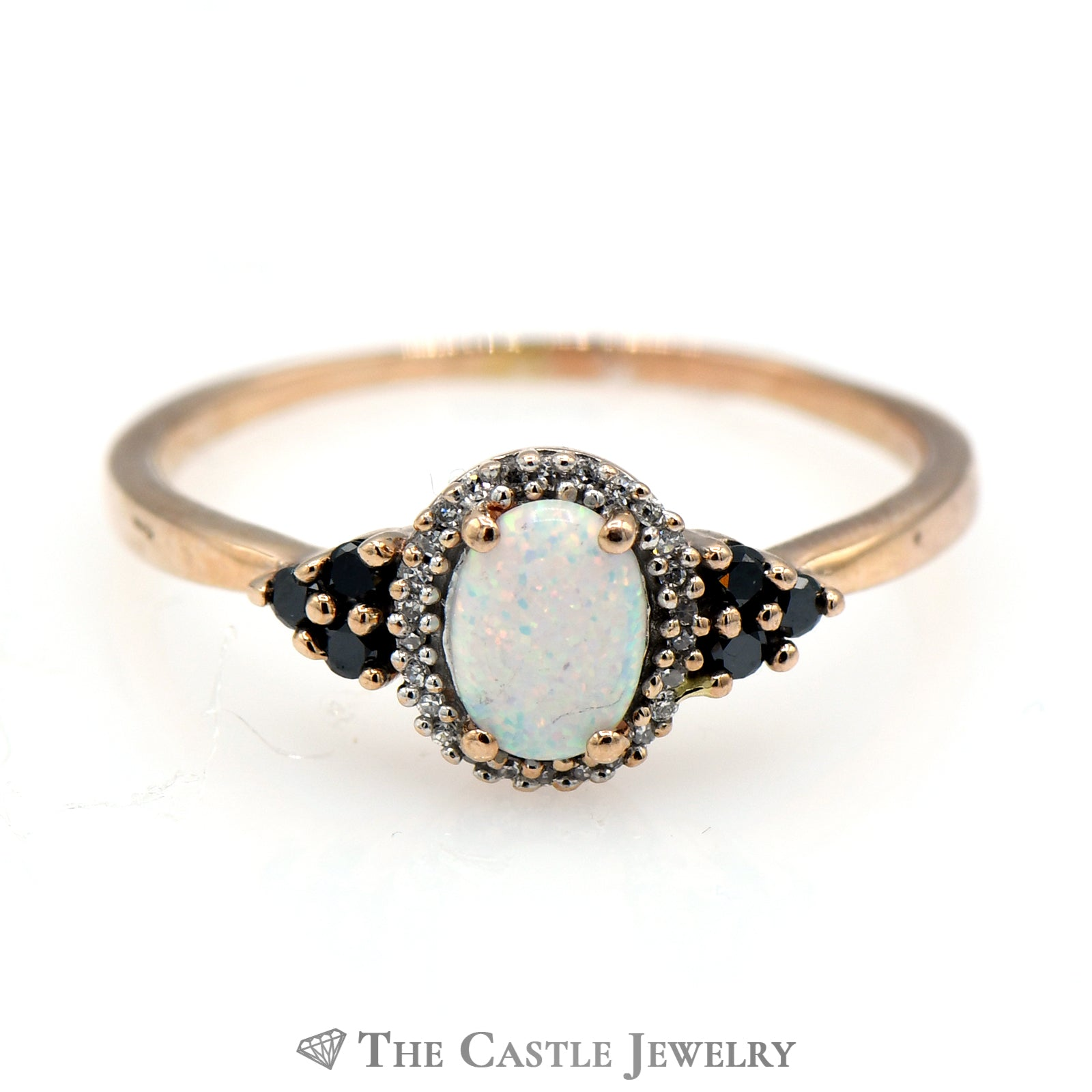 Oval Opal Ring with Black & White Diamond Accents