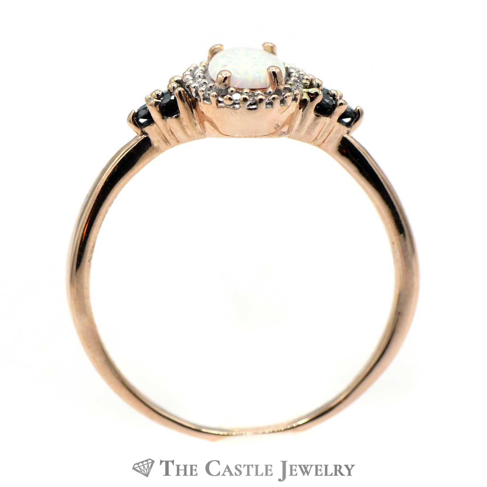 Oval Opal Ring with Black & White Diamond Accents-1