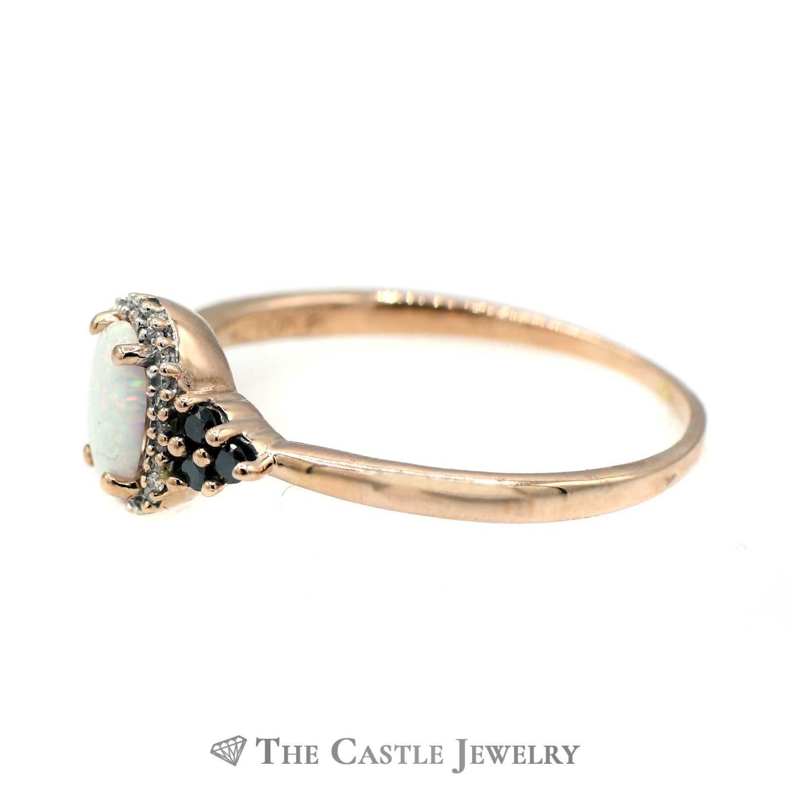 Oval Opal Ring with Black & White Diamond Accents-2