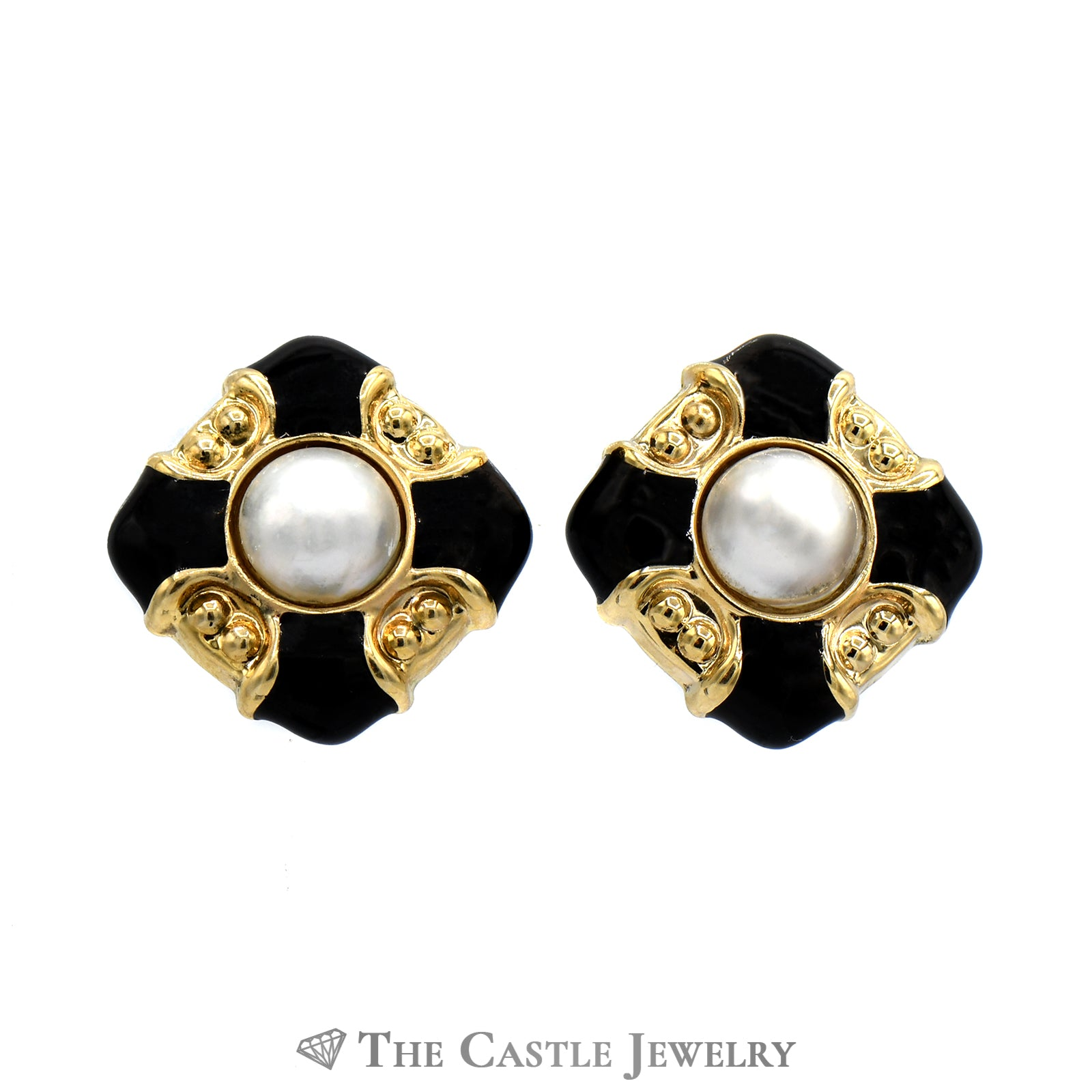 Mabe Pearl And Black Enamel Earrings In 14K Yellow Gold