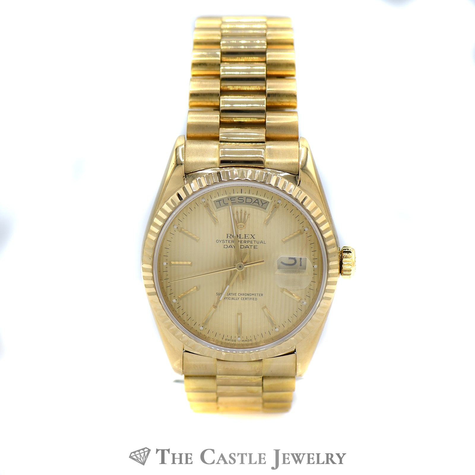 Presidential Rolex Watch with Gold Tapestry Dial ref. 18038-0