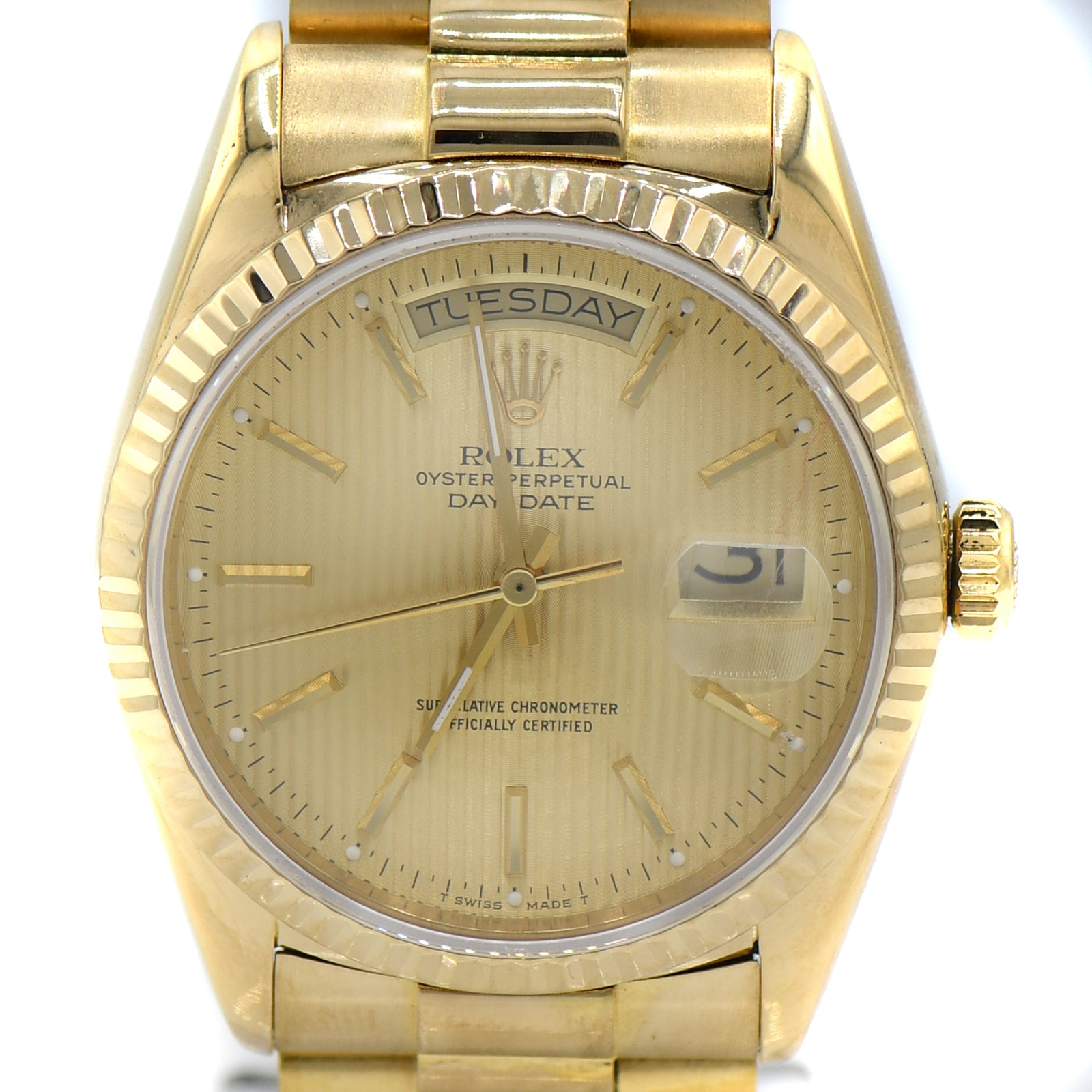 Presidential Rolex Watch with Gold Tapestry Dial ref. 18038-2
