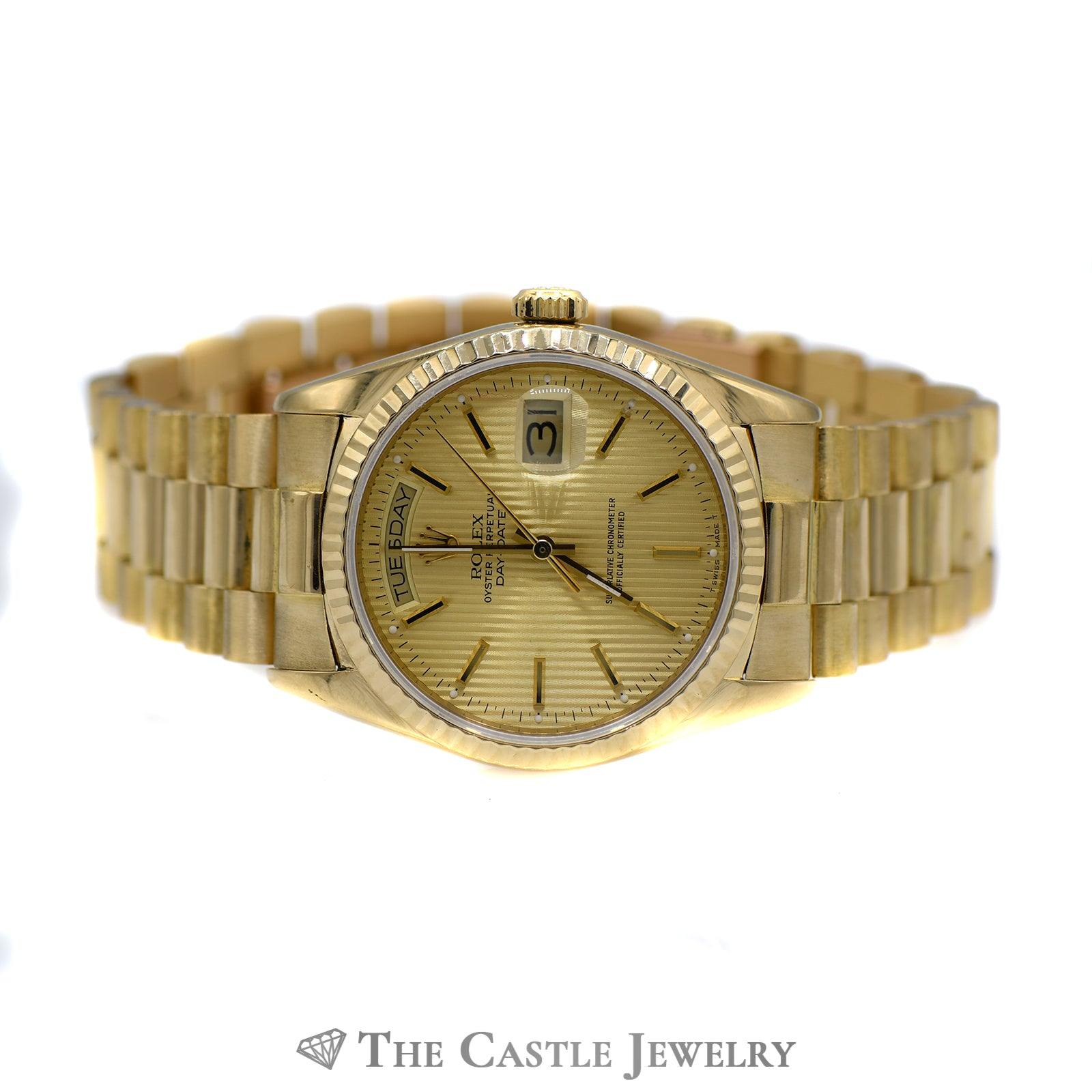 Presidential Rolex Watch with Gold Tapestry Dial ref. 18038-4