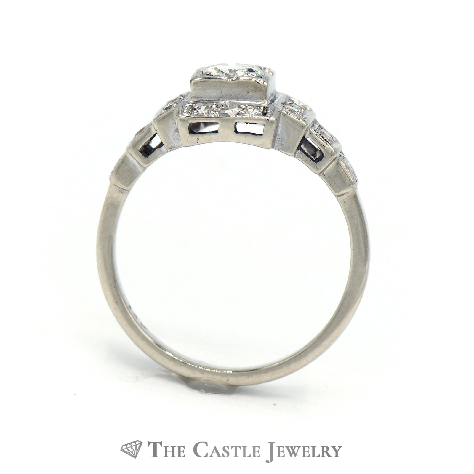 Art Deco Style Diamond Ring In 14K White Gold-1