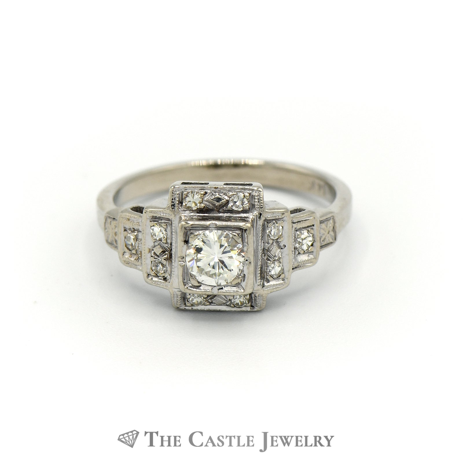 Art Deco Style Diamond Ring In 14K White Gold