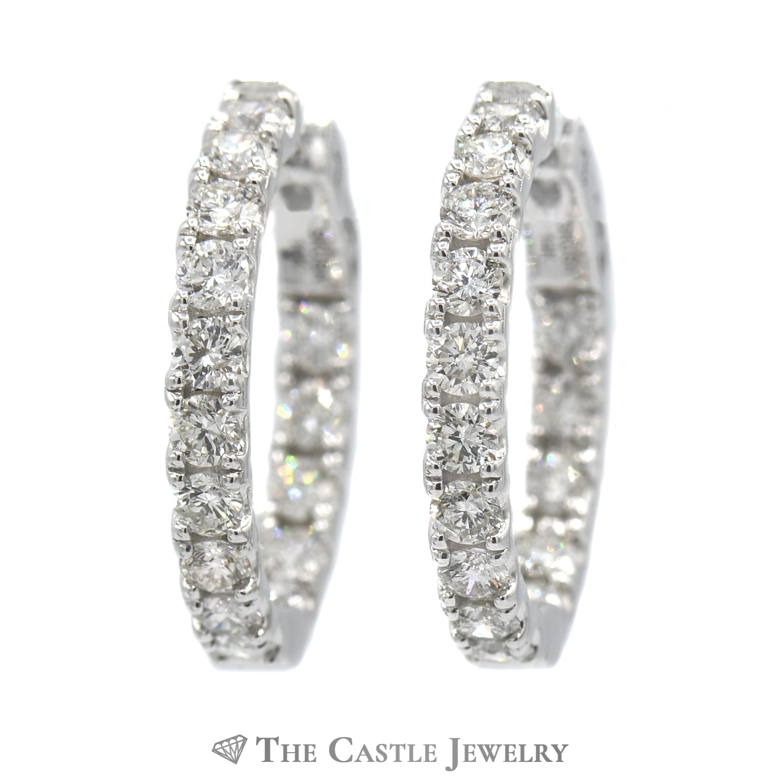 3cttw Hollywood Hoop Earrings in 14K White Gold