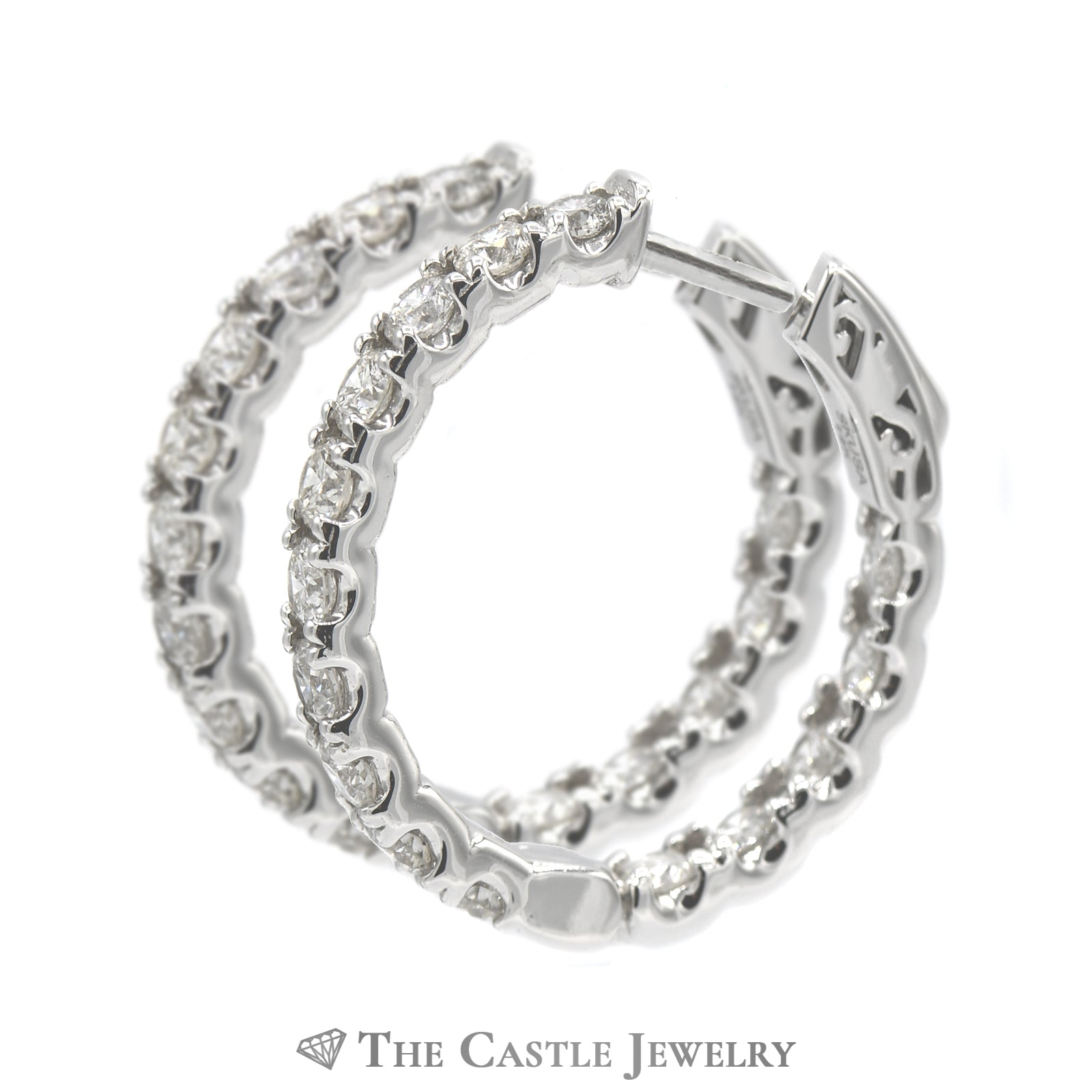 3cttw Hollywood Hoop Earrings in 14K White Gold-1