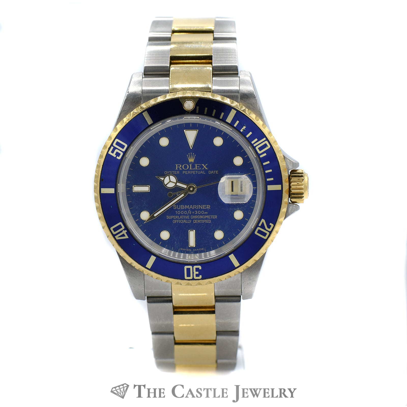 Rolex Blue on Blue Submariner No Holes 18K & Stainless Oyster Bracelet