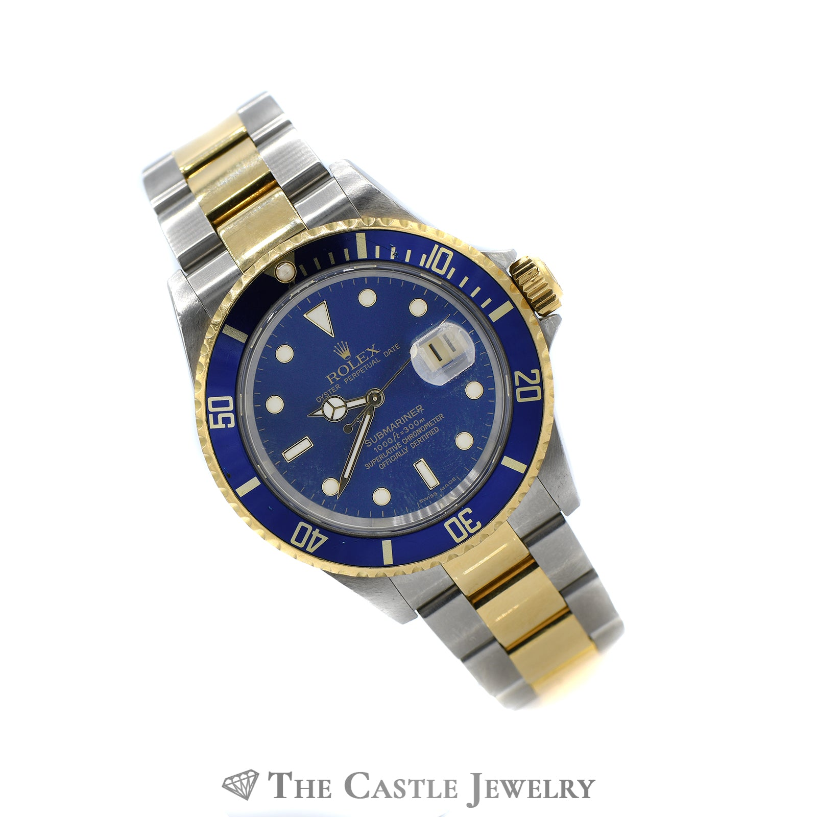 Rolex Blue on Blue Submariner No Holes 18K & Stainless Oyster Bracelet-4