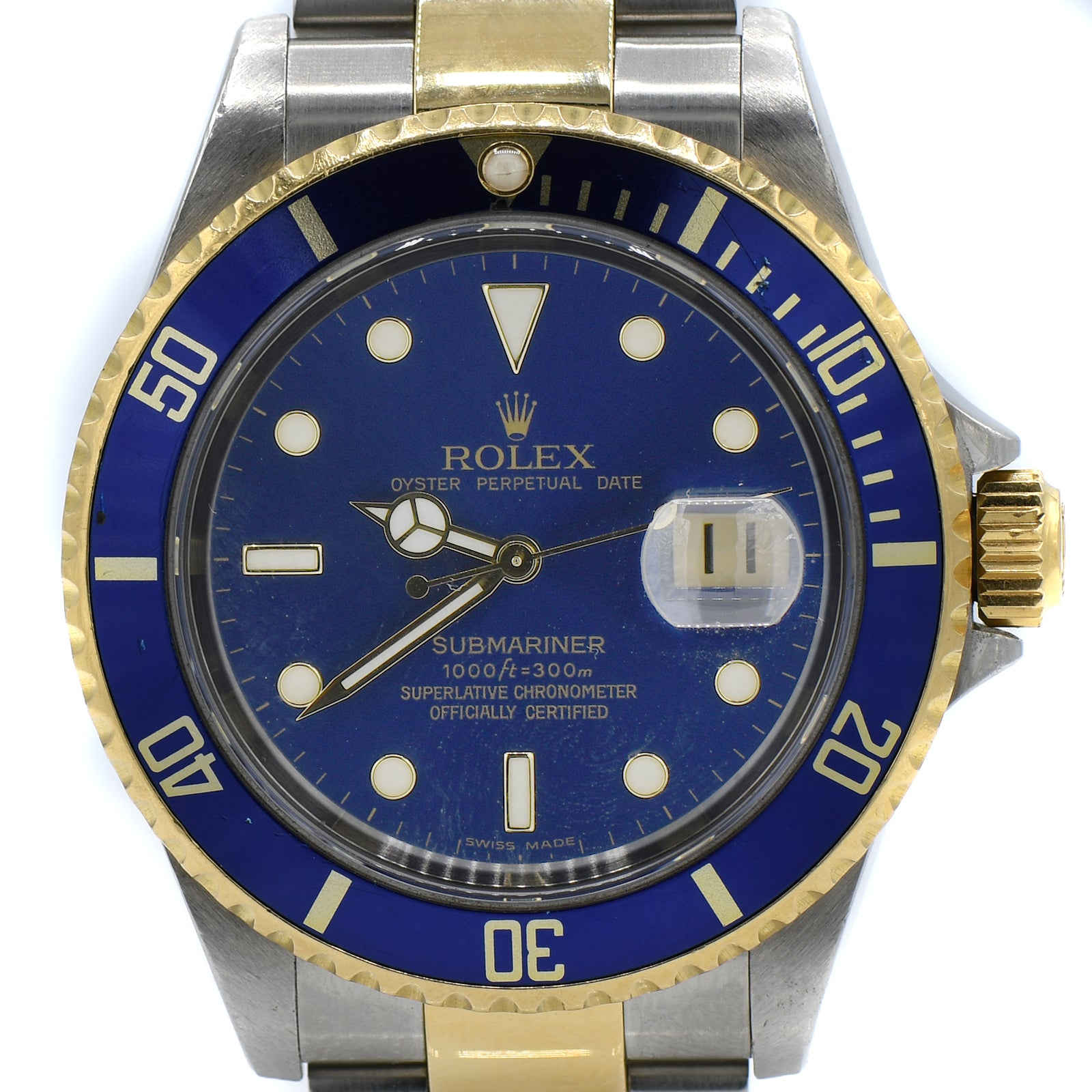 Rolex Blue on Blue Submariner No Holes 18K & Stainless Oyster Bracelet-2