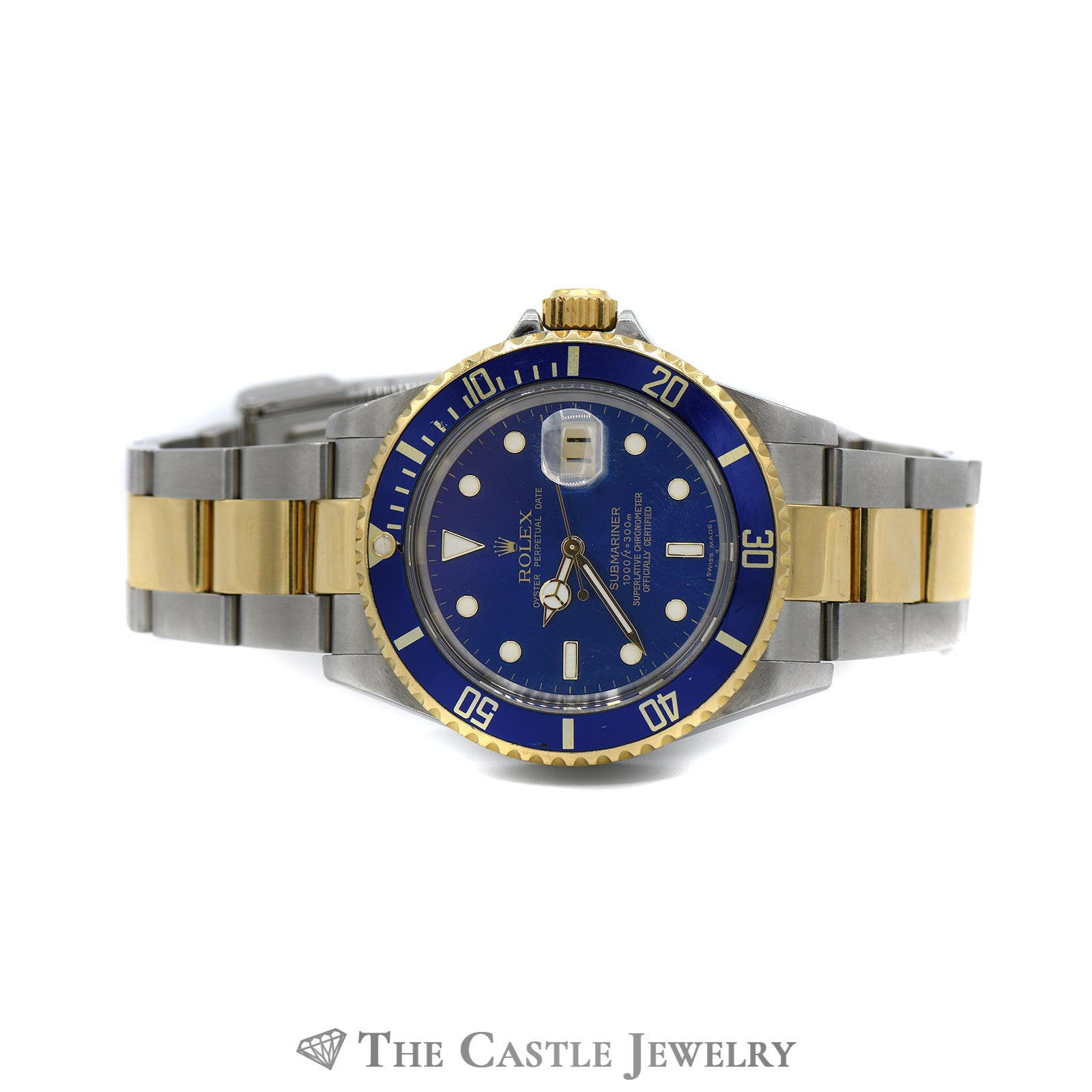 Rolex Blue on Blue Submariner No Holes 18K & Stainless Oyster Bracelet-5
