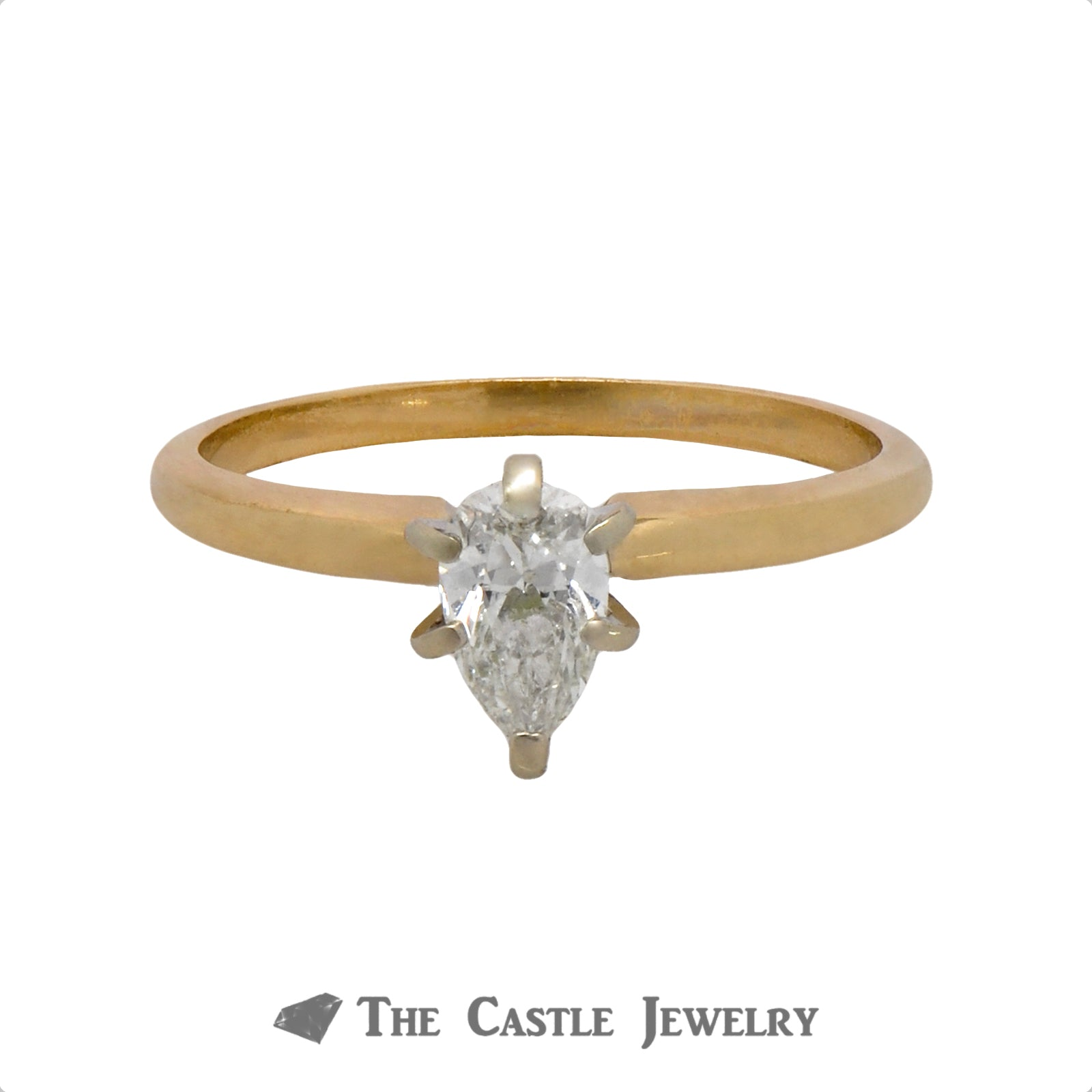 Pear Cut 1/2 carat Solitaire Engagement Ring in 14K Yellow Gold