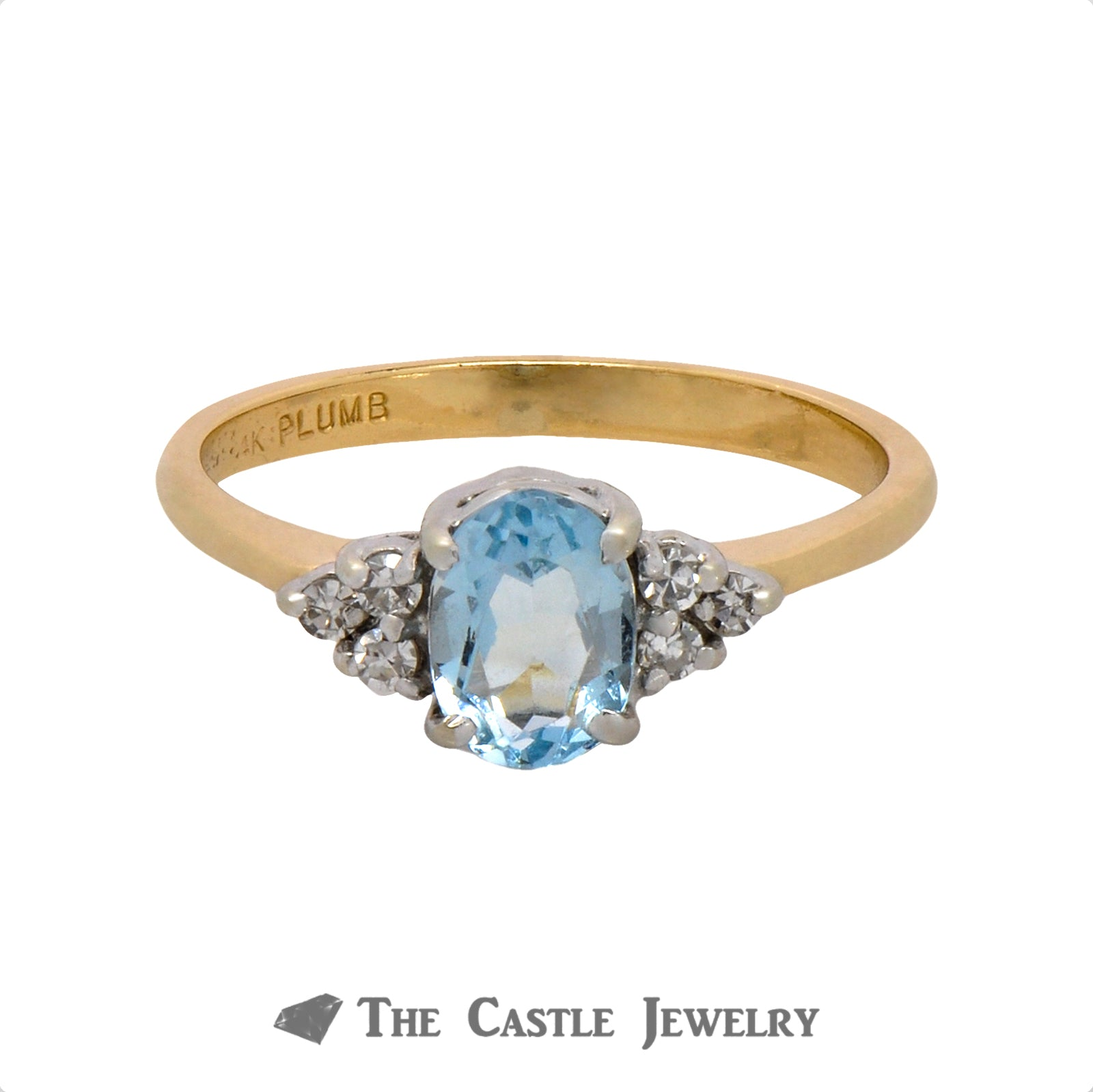 Oval Aquamarine Ring with .09cttw Double Diamond Cluster Accents in 14k Yellow Gold