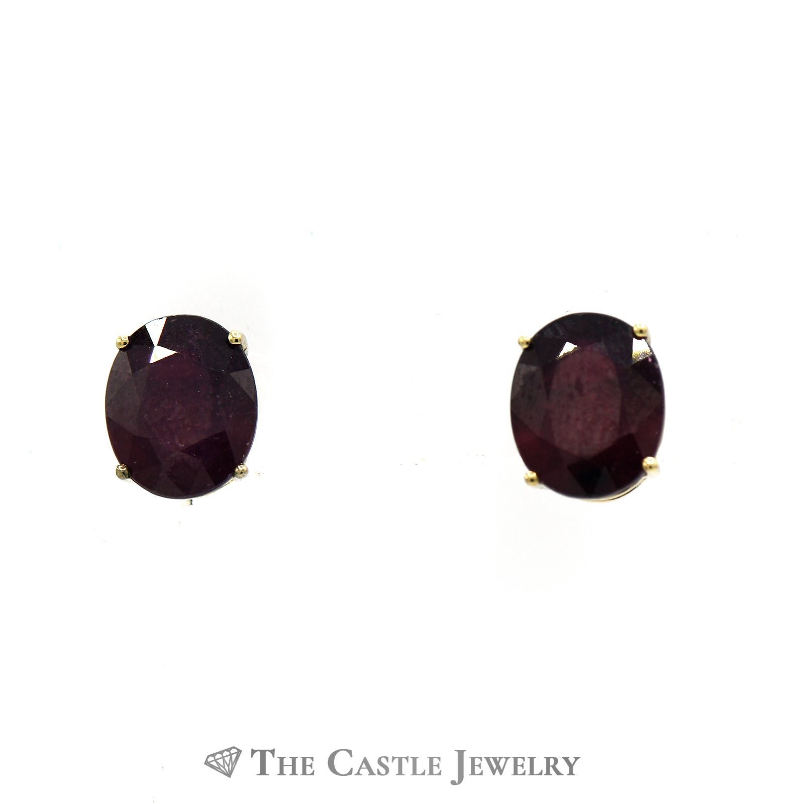 Oval Cut Ruby Stud Earrings in 4 Prong Mounting w/ Butterfly Backs Crafted in 14k Yellow Gold