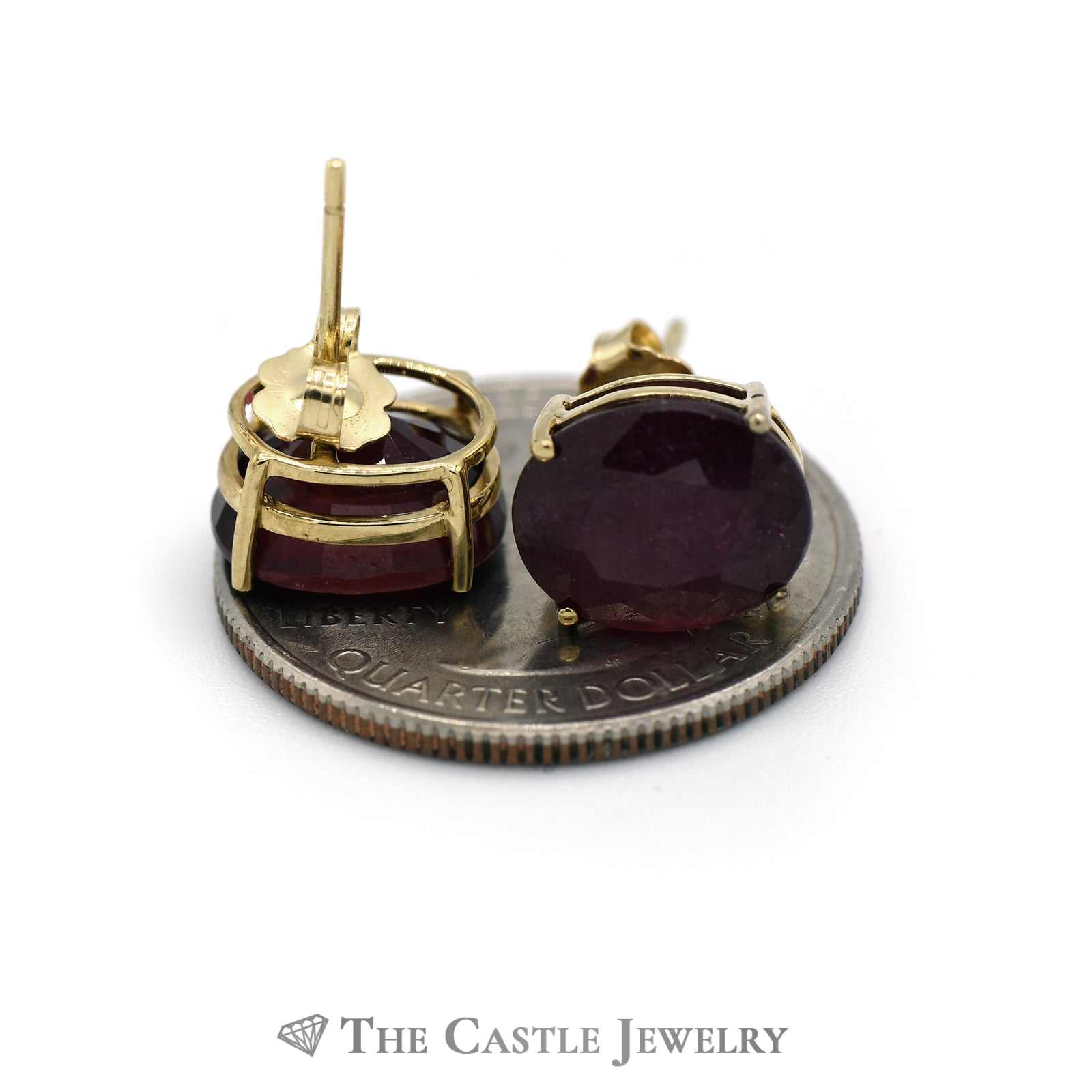 Oval Cut Ruby Stud Earrings in 4 Prong Mounting w/ Butterfly Backs Crafted in 14k Yellow Gold-1