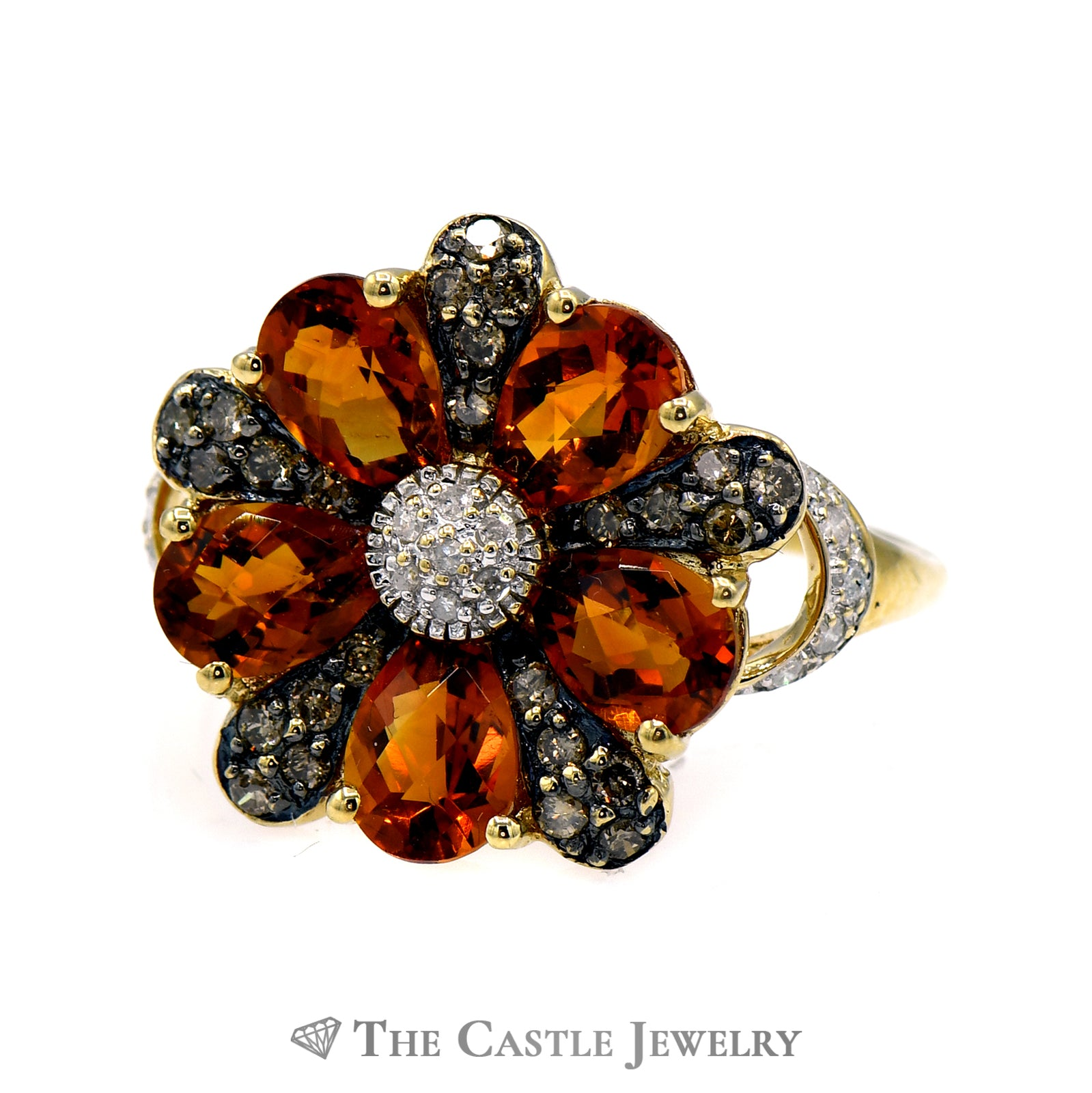 Citrine Flower Cluster Ring with Chocolate & White Diamond Accents in 10k Yellow Gold