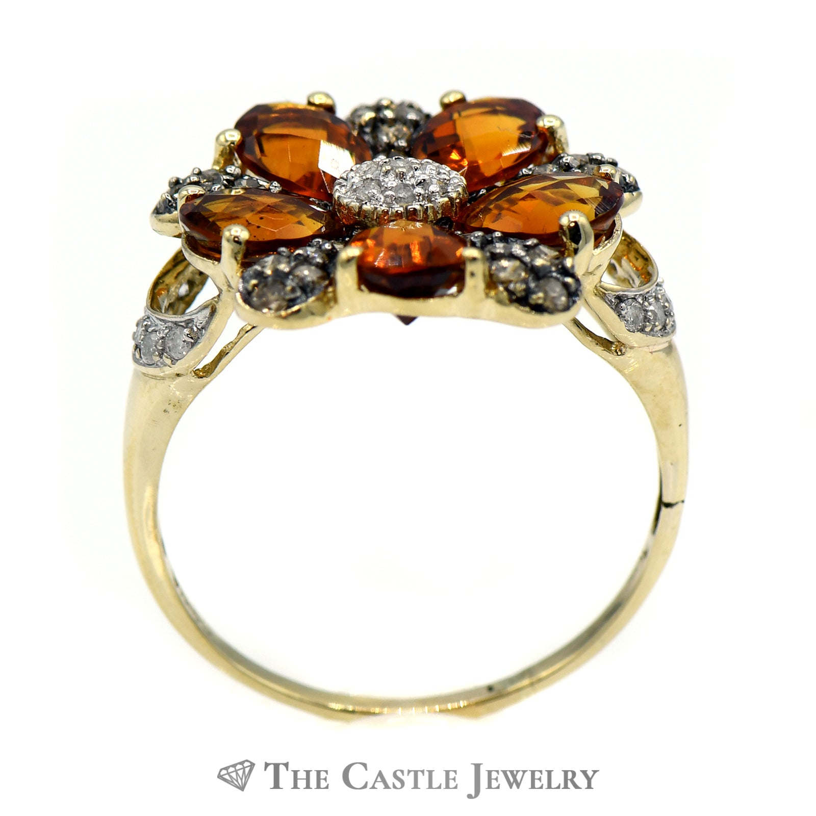 Citrine Flower Cluster Ring with Chocolate & White Diamond Accents in 10k Yellow Gold-1
