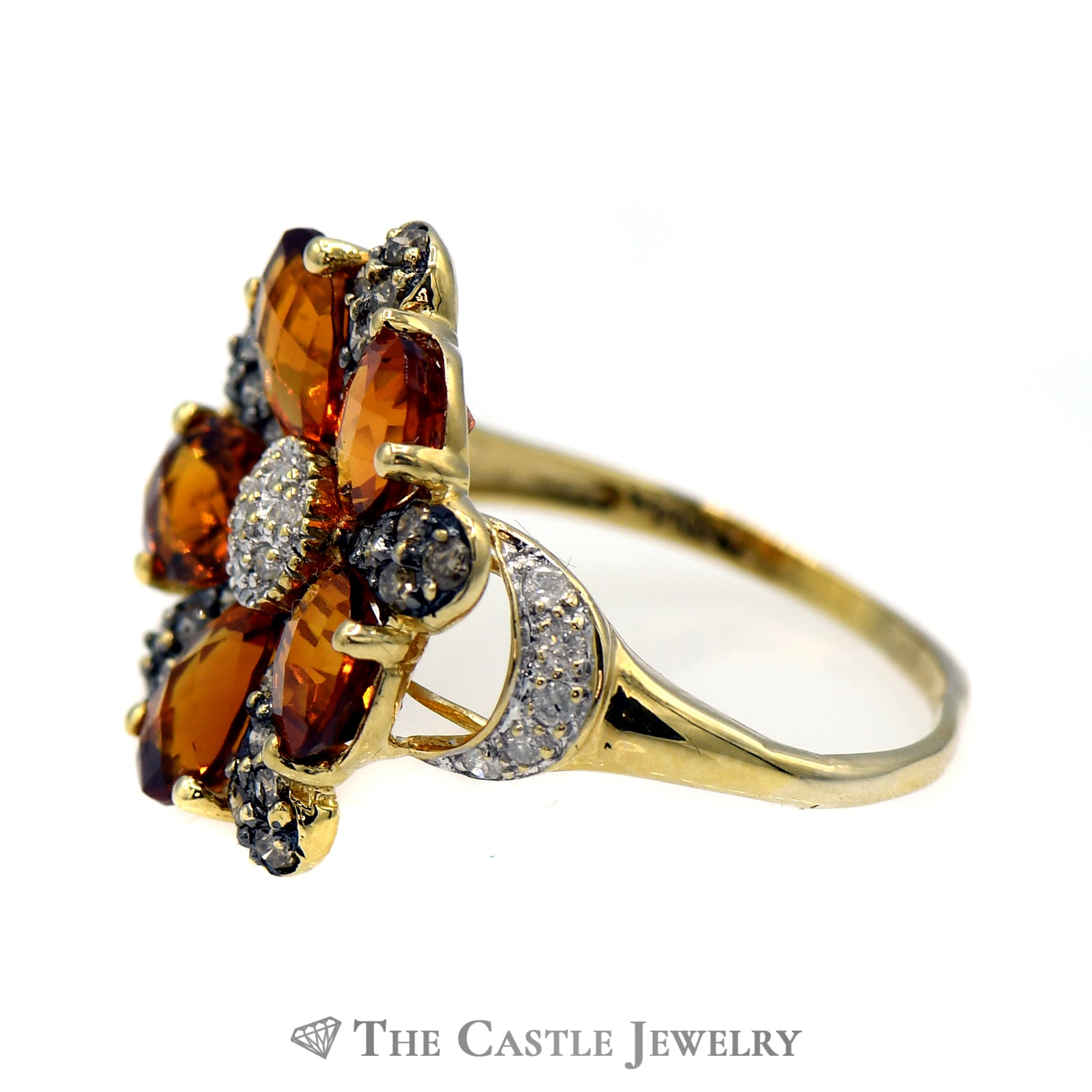 Citrine Flower Cluster Ring with Chocolate & White Diamond Accents in 10k Yellow Gold-2