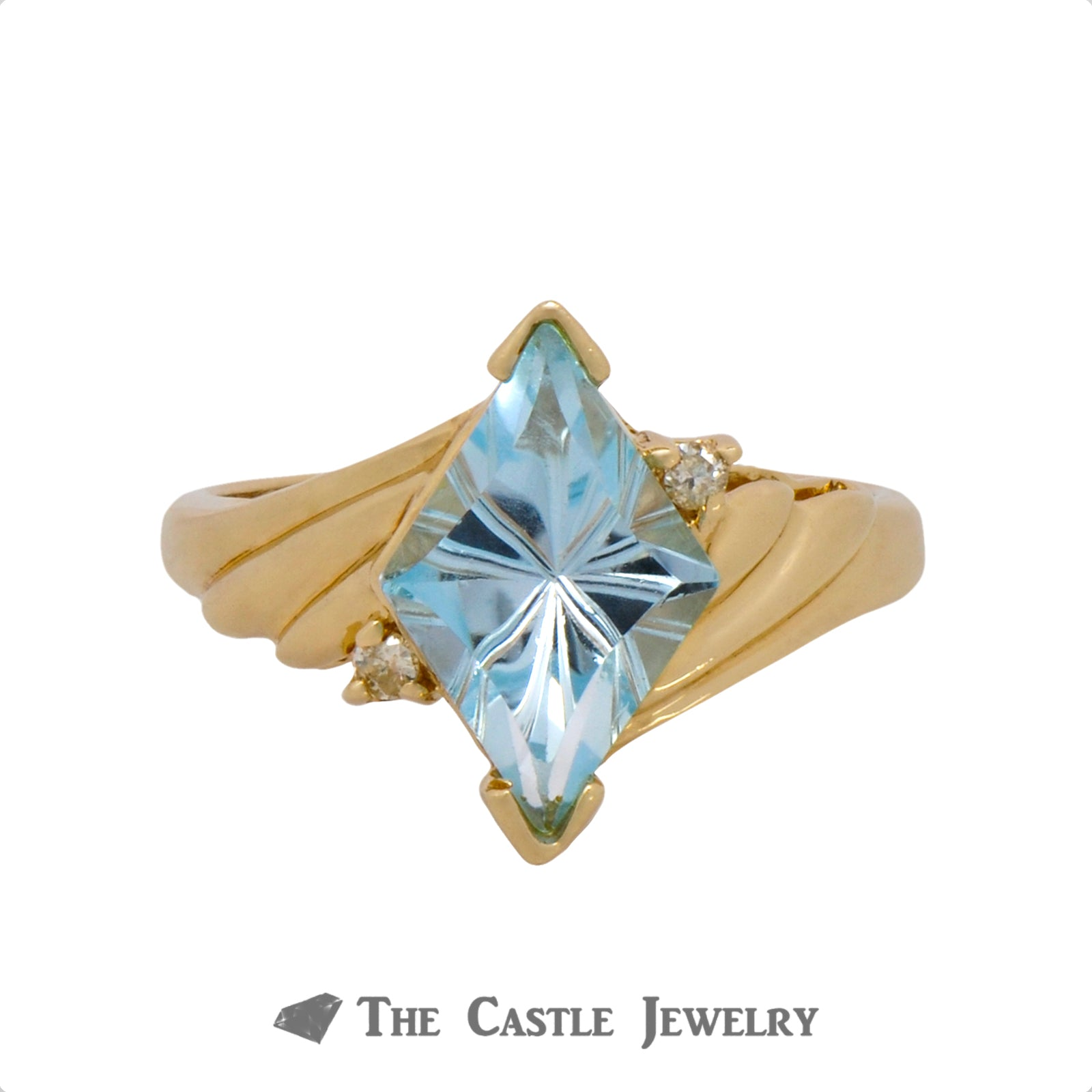 Unique Kite Cut Aquamarine Ring with Diamond Accents Crafted in Ridged 14k Yellow Gold Mounting