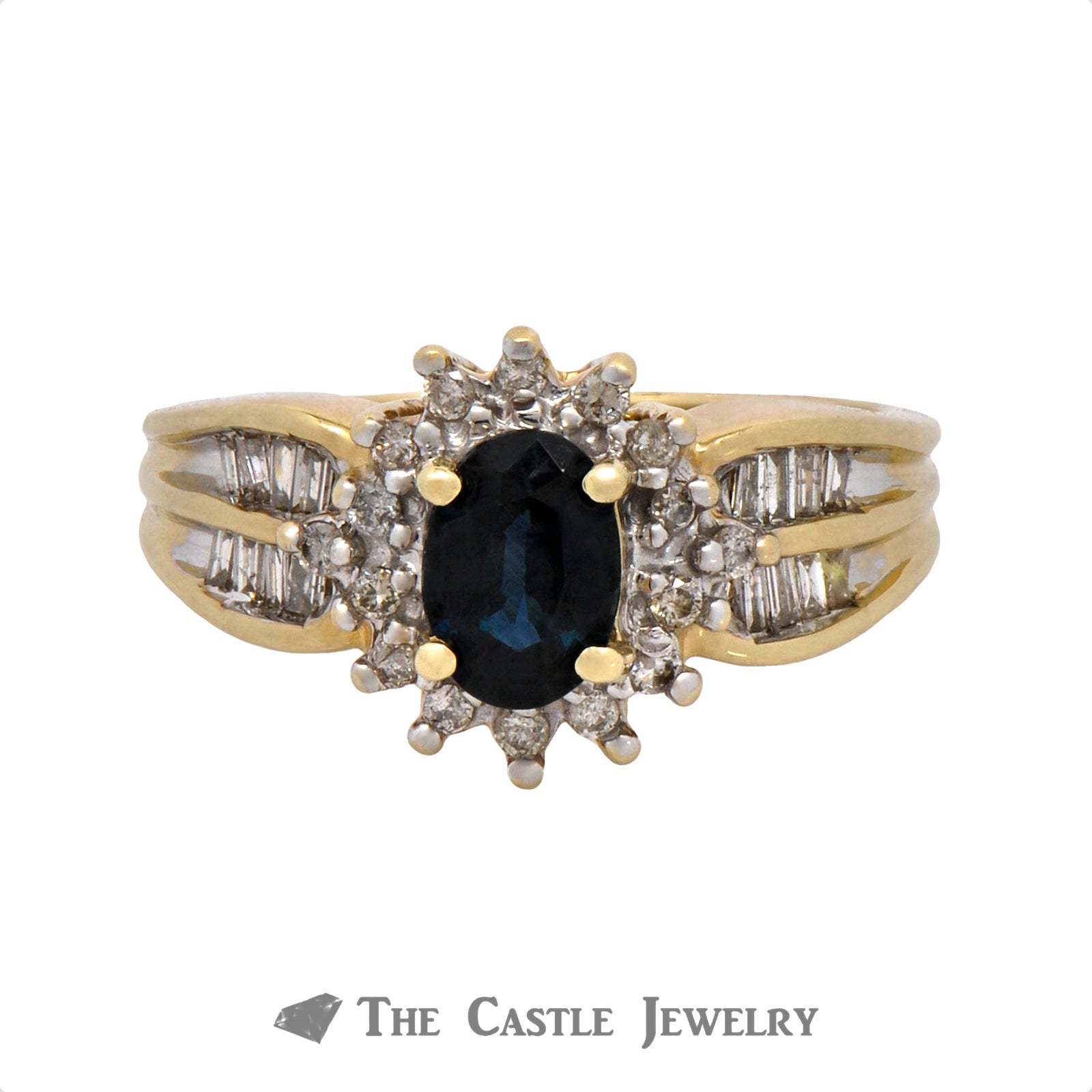 Oval Cut Sapphire Ring with .33cttw Diamond Halo & Accents in 10k Yellow Gold