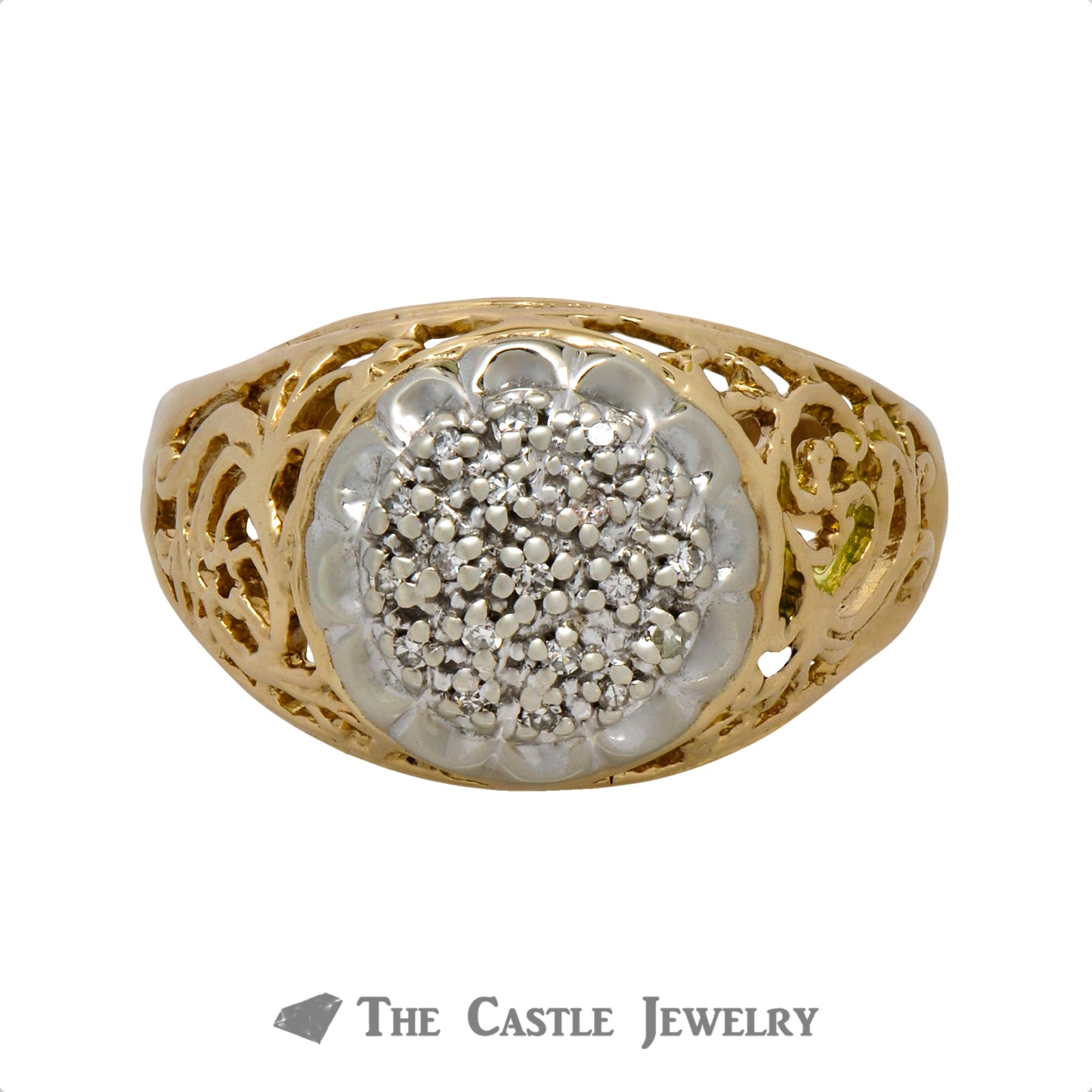 14K Two-Tone Kentucky Cluster Ring with .10cttw of Diamonds
