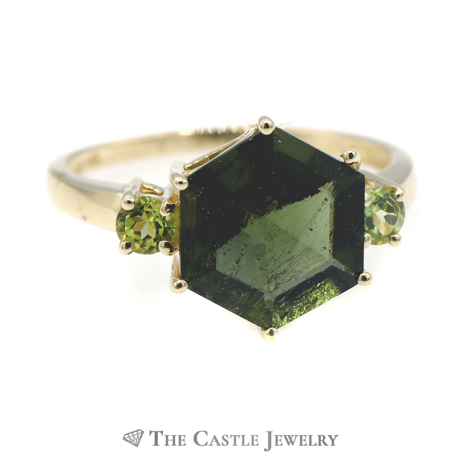 Hexagon Shaped Green Tourmaline Ring with Peridot Sides