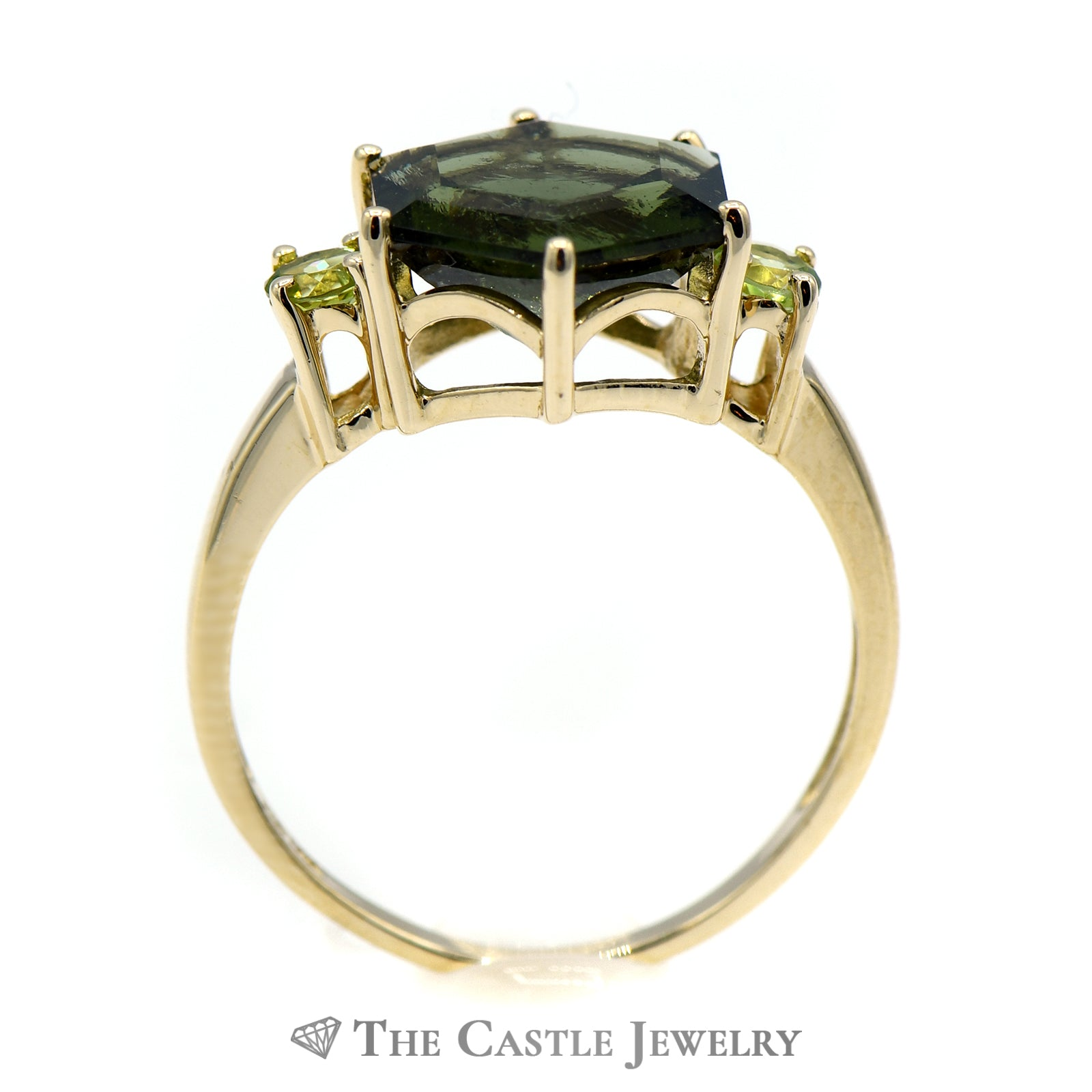 Hexagon Shaped Green Tourmaline Ring with Peridot Sides-1