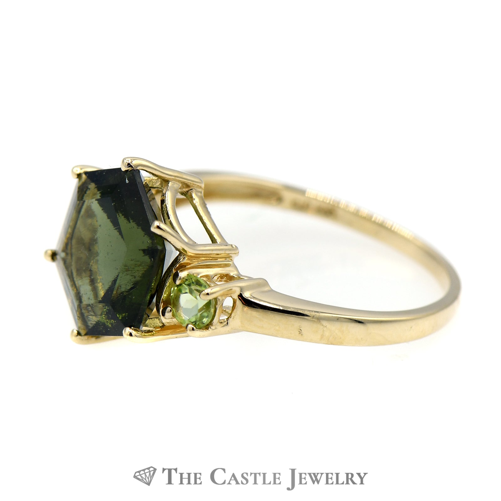 Hexagon Shaped Green Tourmaline Ring with Peridot Sides-2