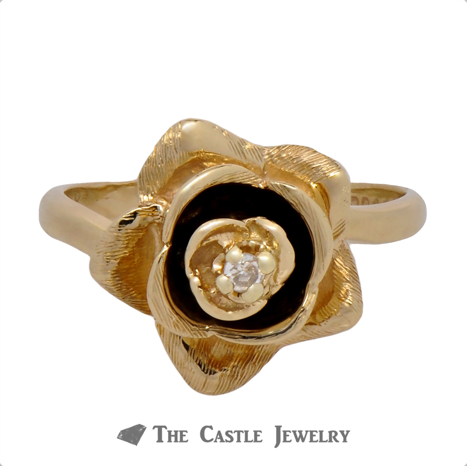 Yellow Gold Rose Shaped Ring with Diamond Center-0