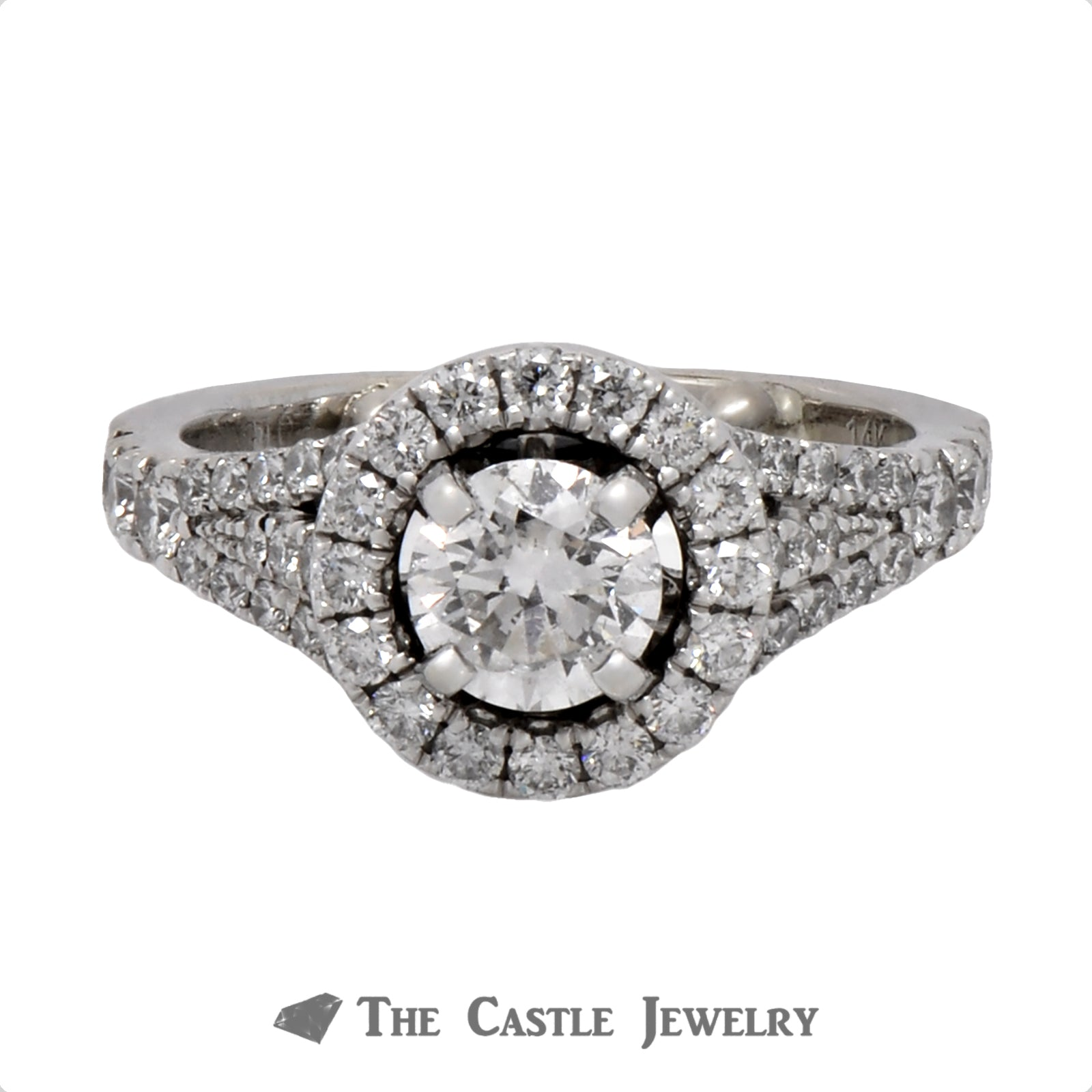 Vera Wang 1.5cttw Engagement Ring Round Cut Diamond Center with Diamond Halo