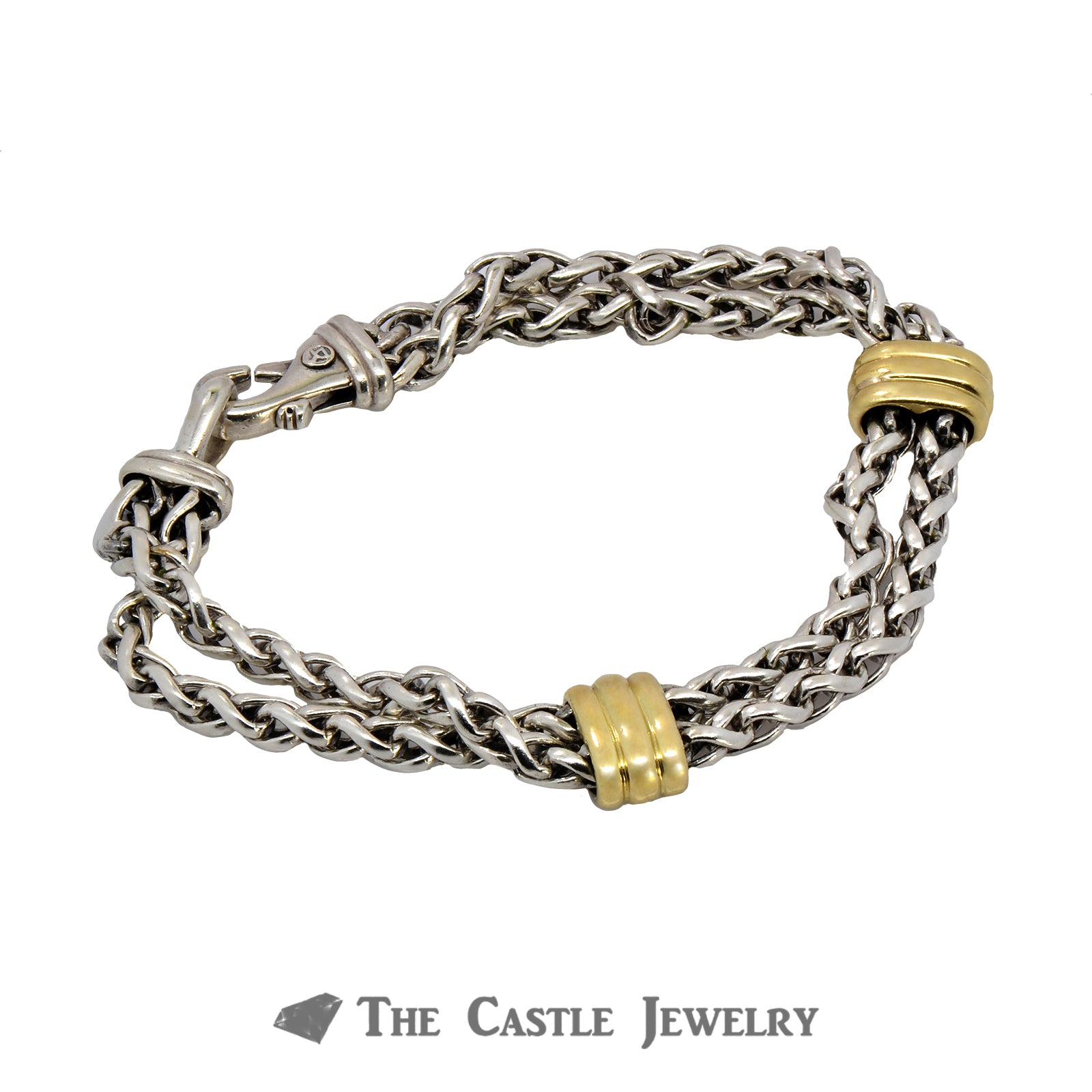 "Two Station David Yurman 9"" Bracelet Crafted in Sterling Silver and 18k Yellow Gold"