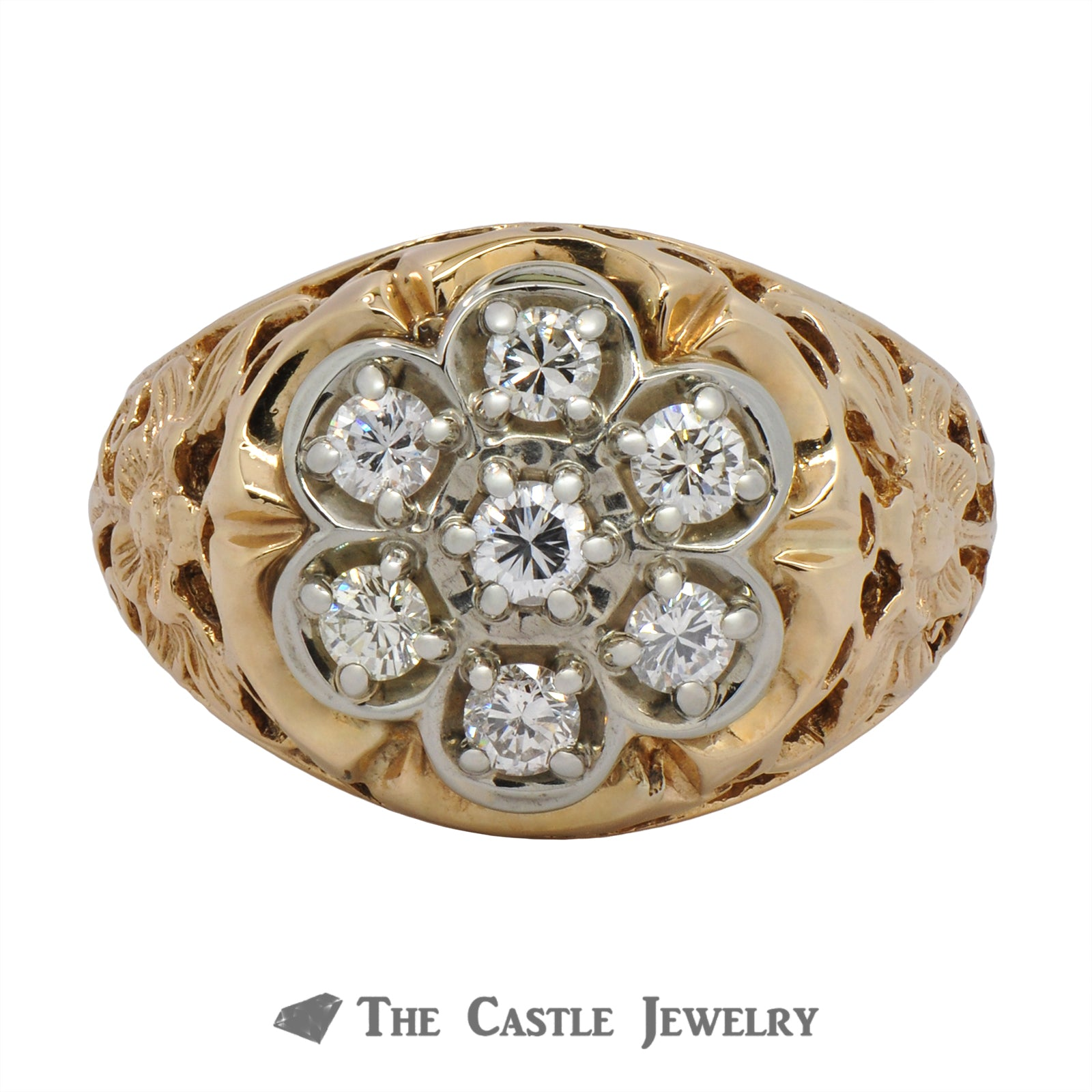 7 Diamond Cluster Ring with Flower Filigree 10K Mounting