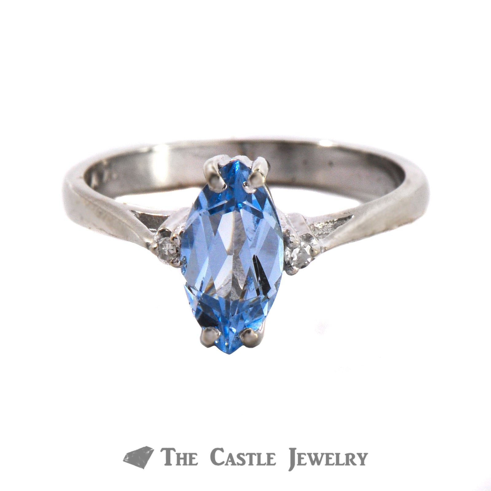 Marquise Cut Blue Topaz Ring With .02cttw Diamonds 10K White Gold
