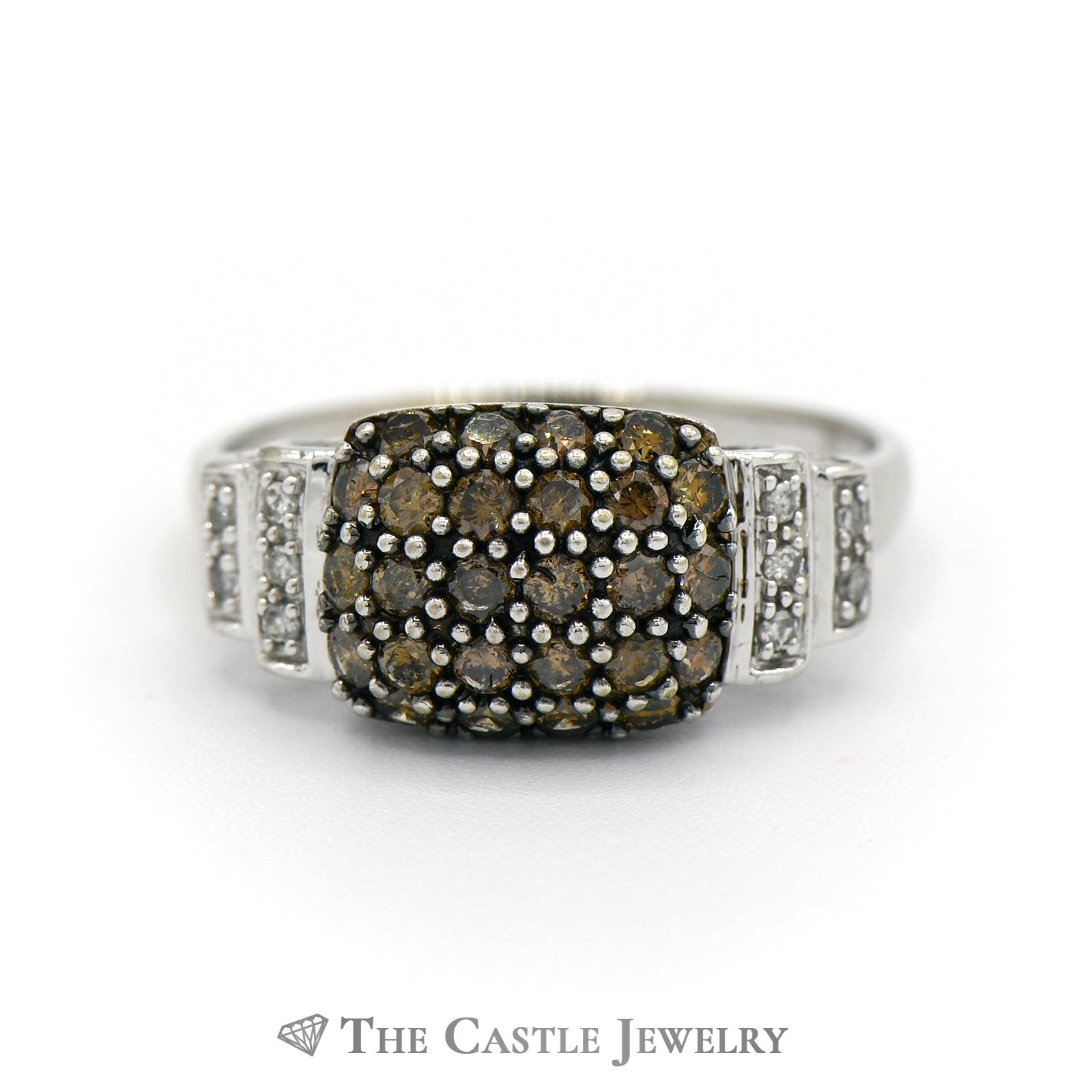 White And Brown 1/2cttw Diamond Cluster Ring In 10K White Gold