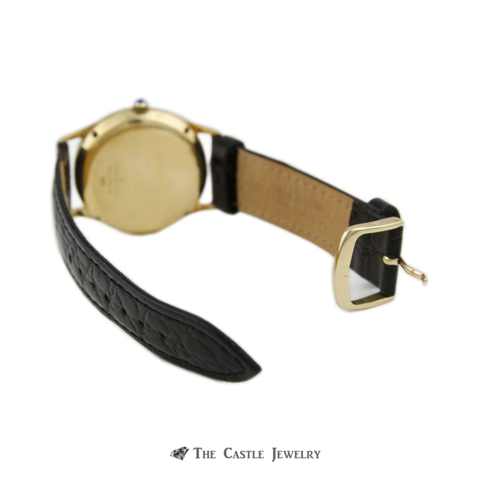 "Tiffany & Co. ""Concord"" Quartz Watch w/ Black Leather Band w/ 14k Yellow Cold Case & Buckle-6"