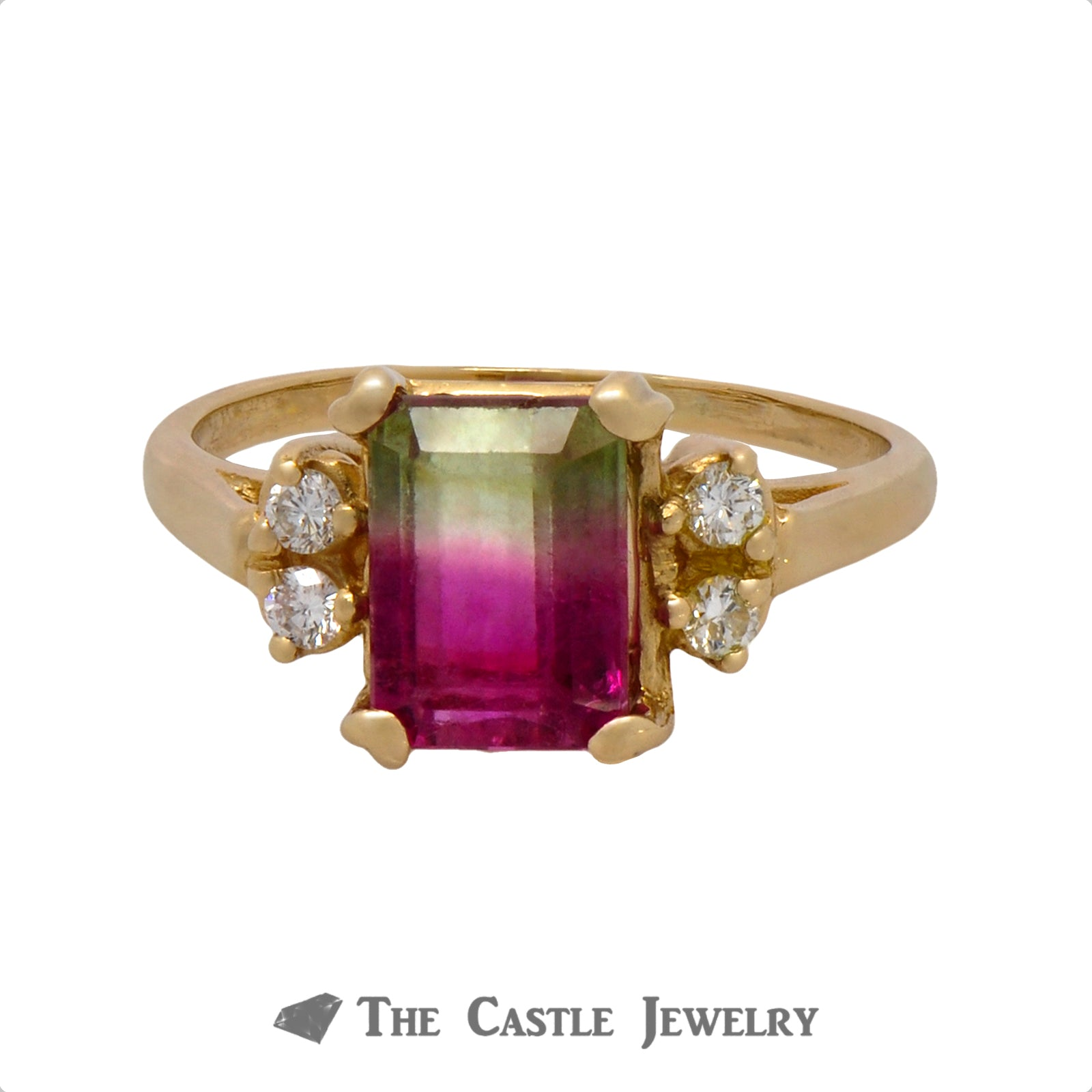 Watermelon Tourmaline Ring with Double Diamond Accents on Each Side Crafted in 14k Yellow Gold