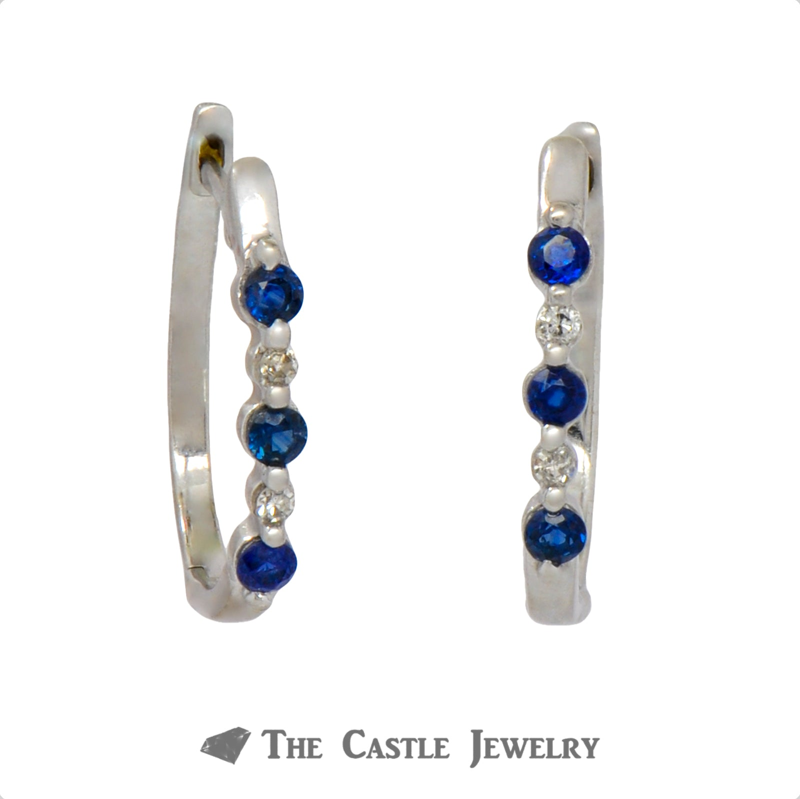 Round Sapphire & Diamond Huggie Earrings in 10k White Gold