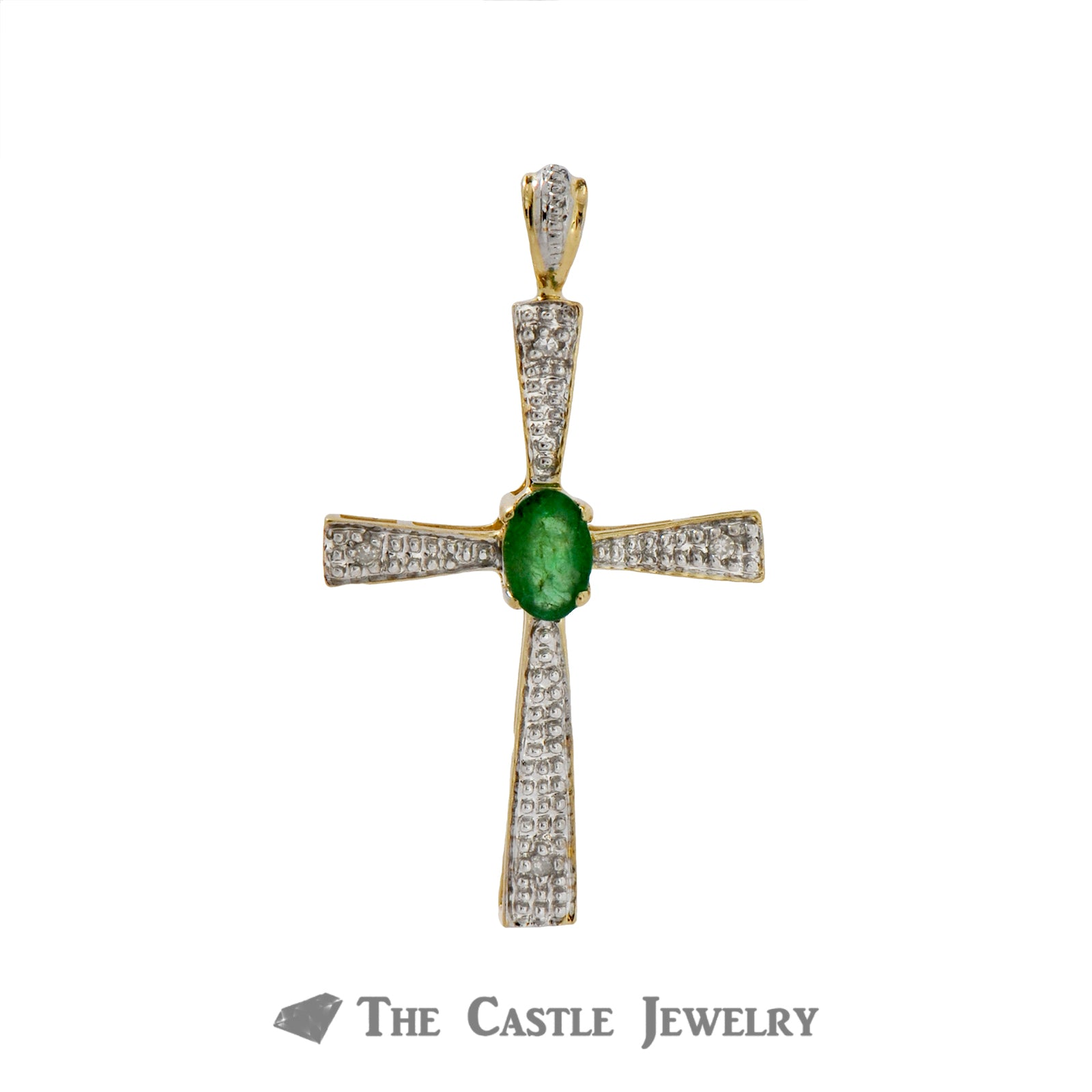 Oval Cut Emerald Cross Pendant with Diamond Accents Crafted in 14k Yellow Gold