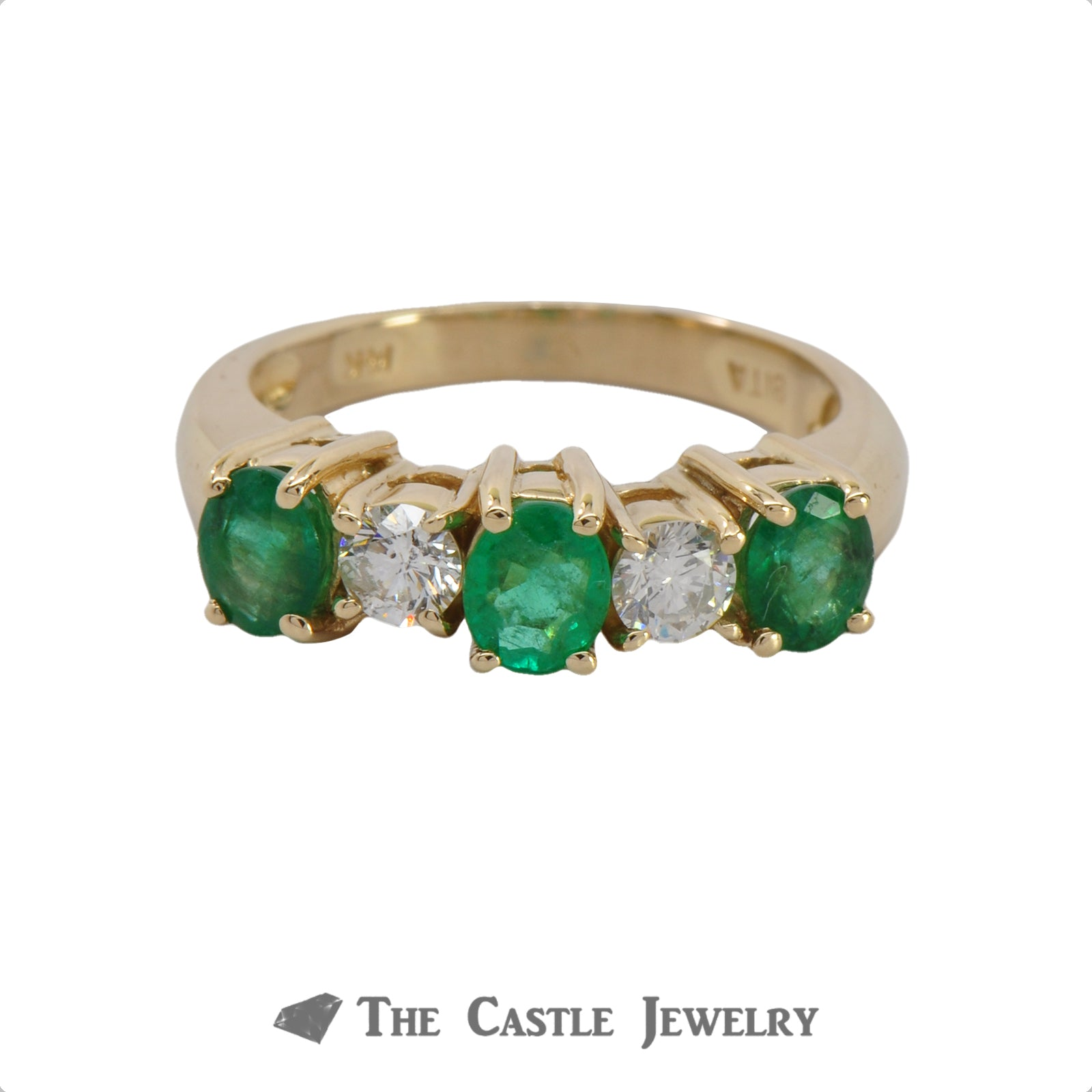 Deep Green Emerald And Diamond Ring In 14K Yellow Gold